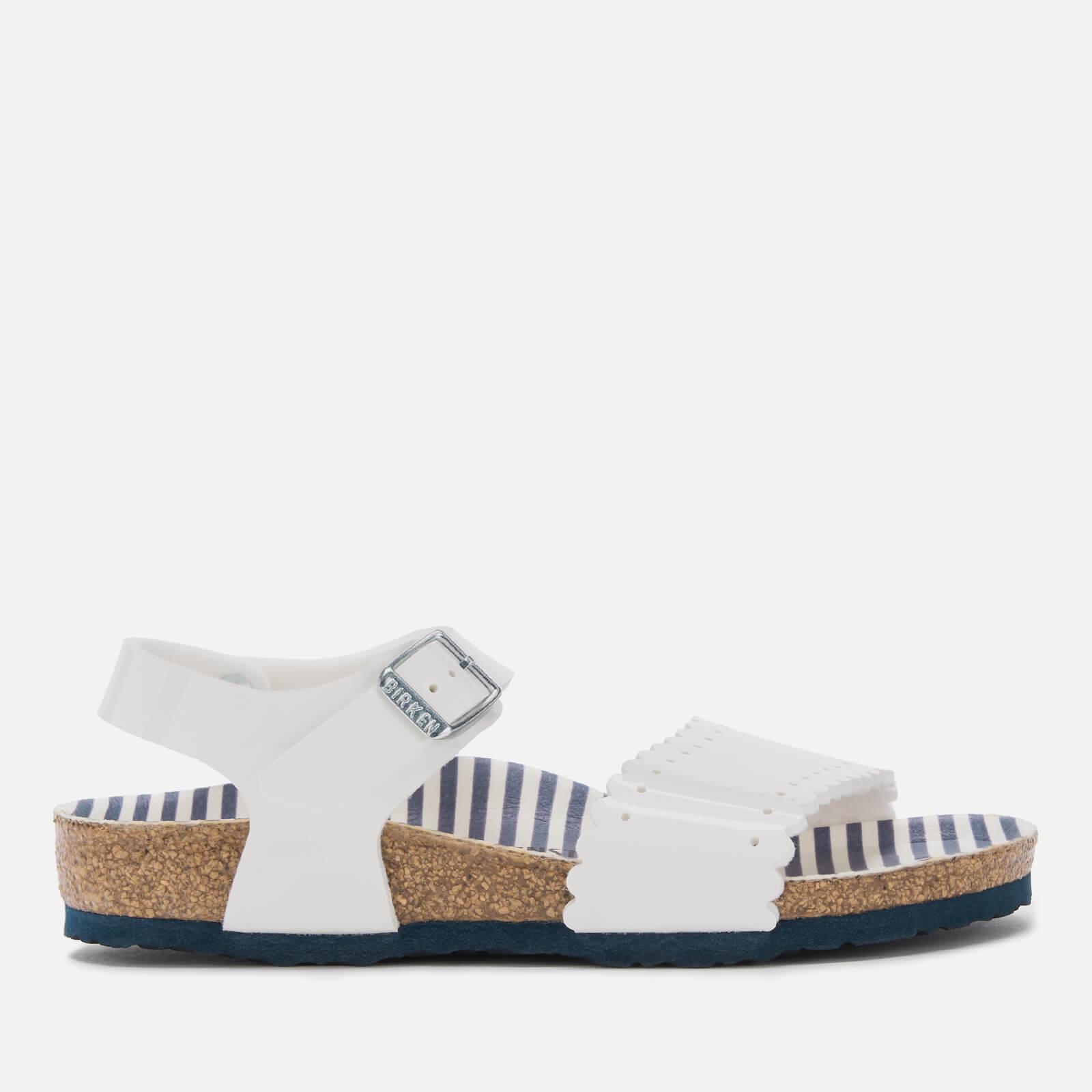 Birkenstock Kids' Risa Slim Fit Patent Double Strap Sandals - Nautical Stripes White - EU 32/UK 13.5