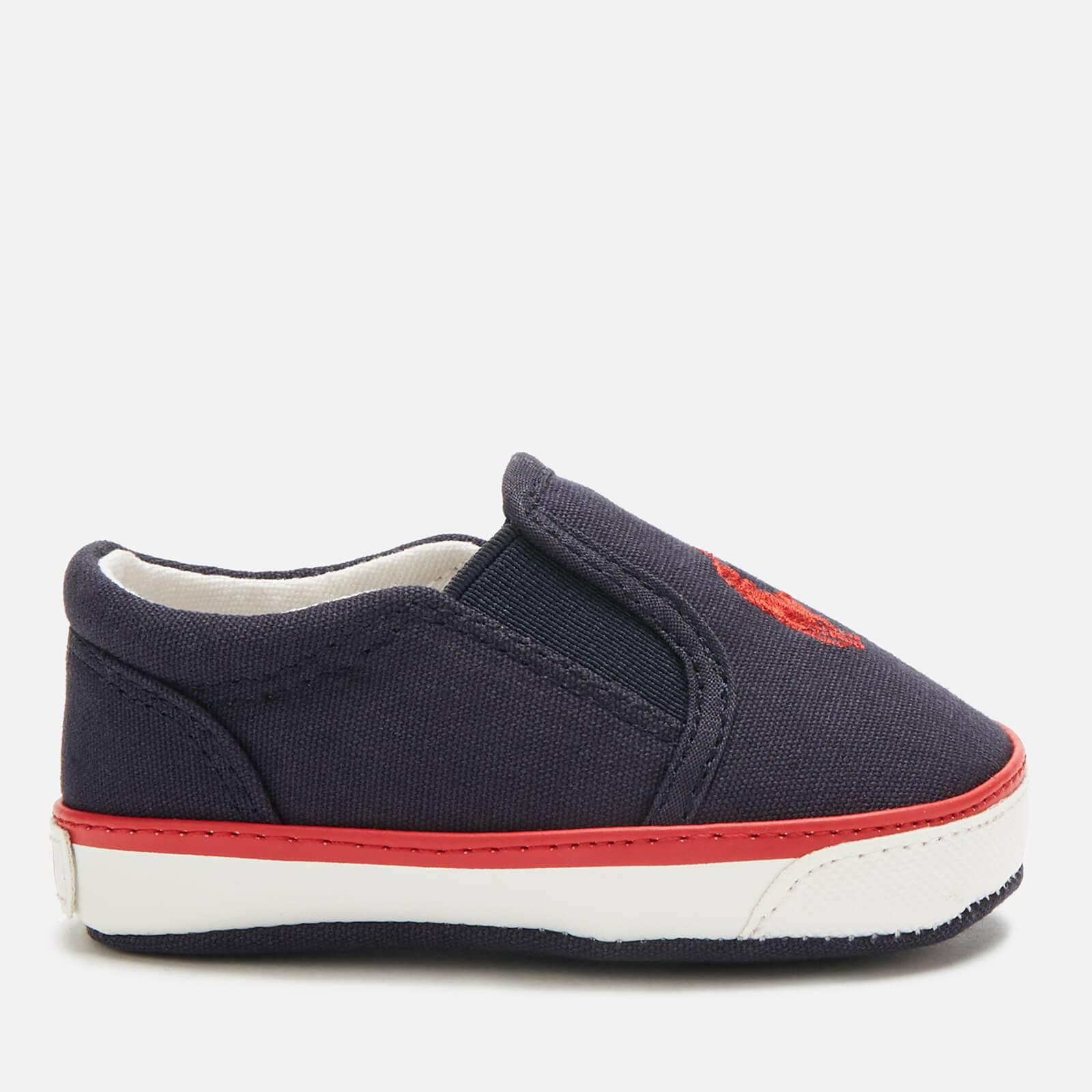 Ralph Lauren Polo Ralph Lauren Babies' Bal Harbour II Canvas Slip-On Pumps - Navy/Red PP - UK 3.5 Baby/EU 19 - Blue
