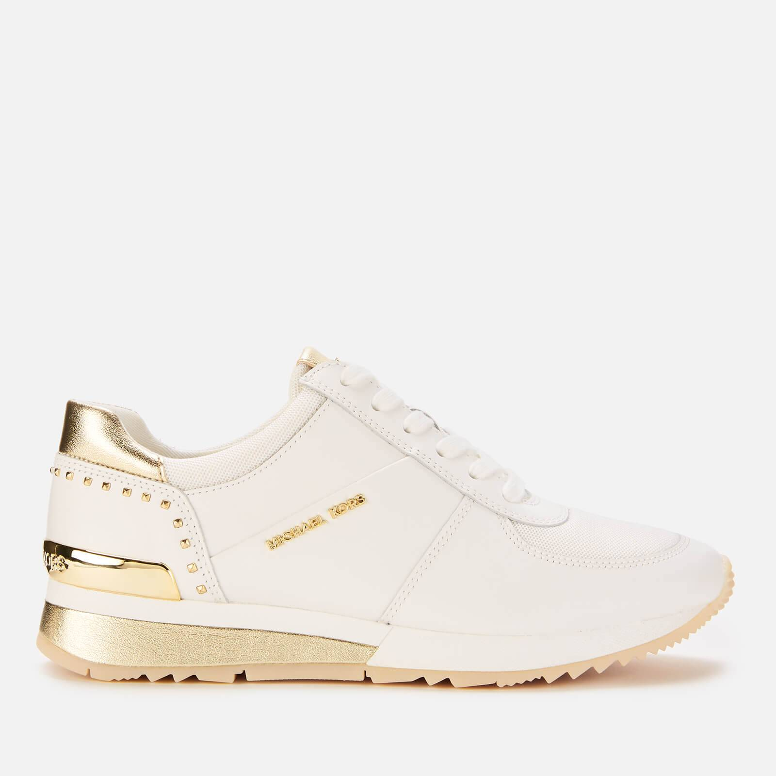 MICHAEL MICHAEL KORS Women's Allie Leather Wrap Runner Style Trainers - Optic/Pale Gold - UK 4/US 7 - Beige