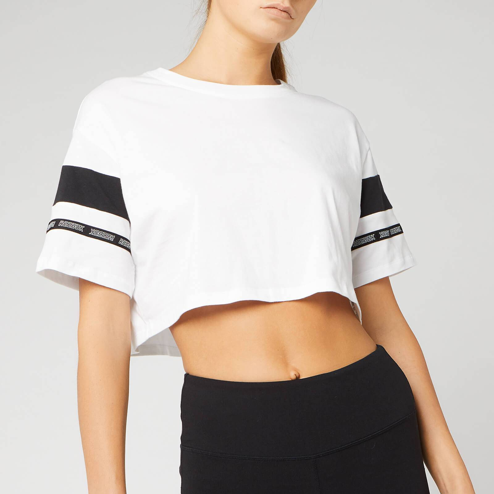 Reebok Women's WOR MYT Solid Cropped Short Sleeve T-Shirt - White - L - White