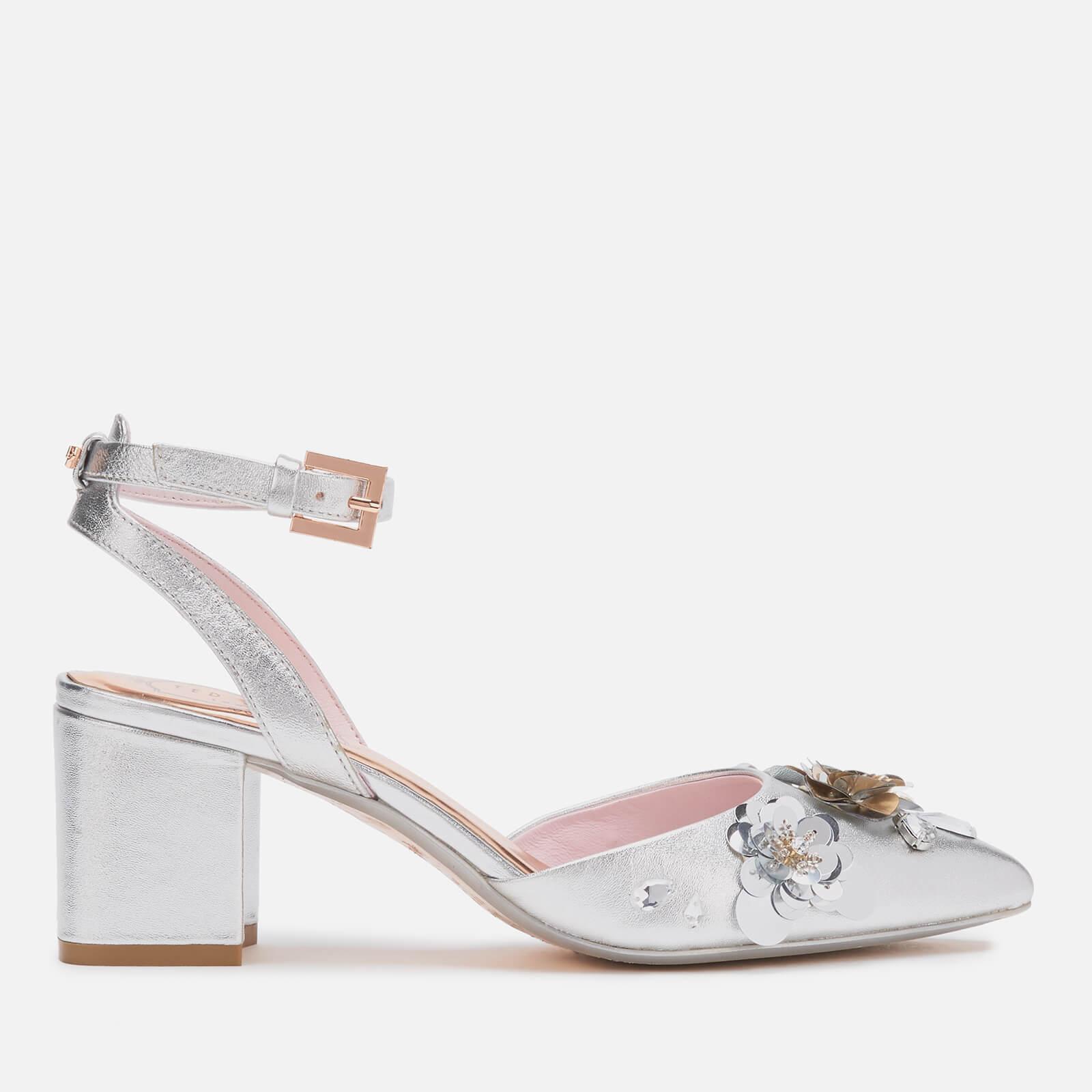 Ted Baker Women's Odesca Floral Embellished Block Heeled Sandals - Silver - UK 8