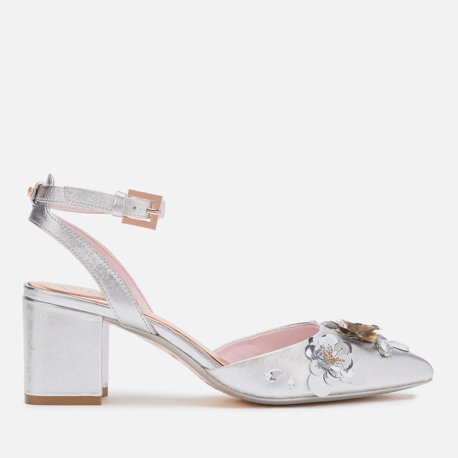 Ted Baker Women's Odesca Floral Embellished Block Heeled Sandals - Silver - UK 4