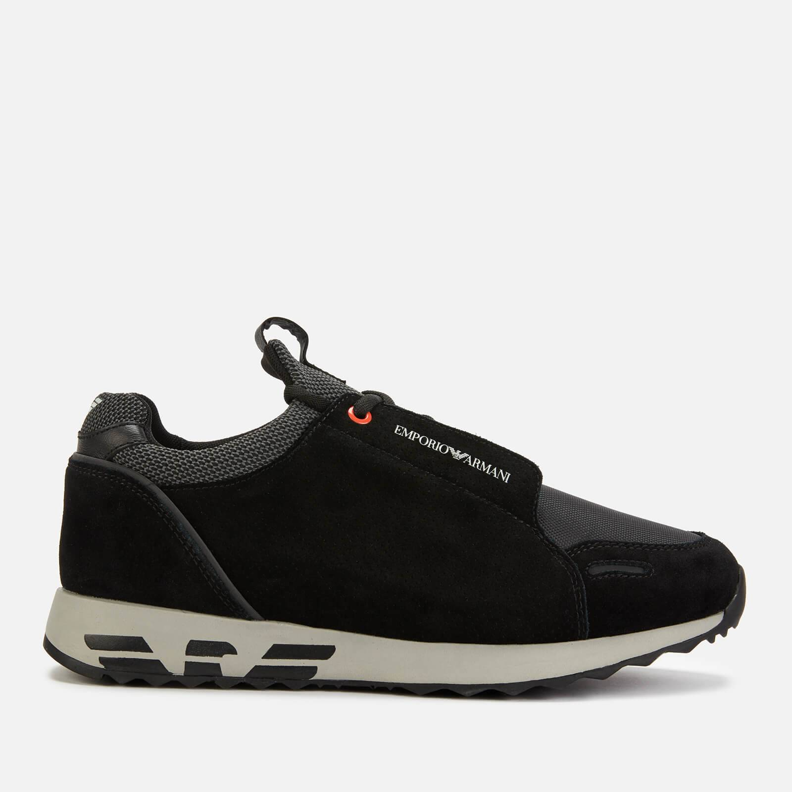 Emporio Armani s Arco Suede/Cord Running Style Trainers - Black/Black/Black - EU 45/UK 11 - Black