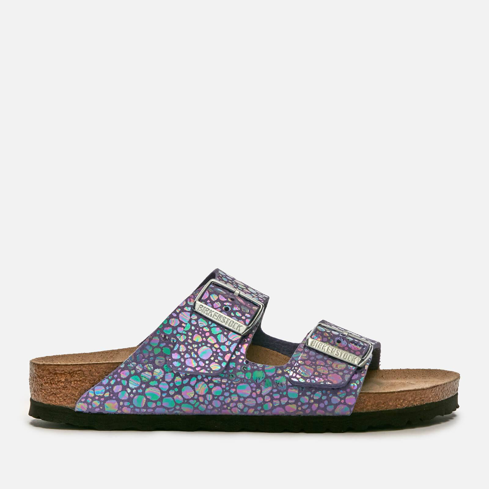 Birkenstock Women's Arizona Slim Fit Suede Double Strap Sandals - Metallic Stones Violet - UK 7.5 - Purple