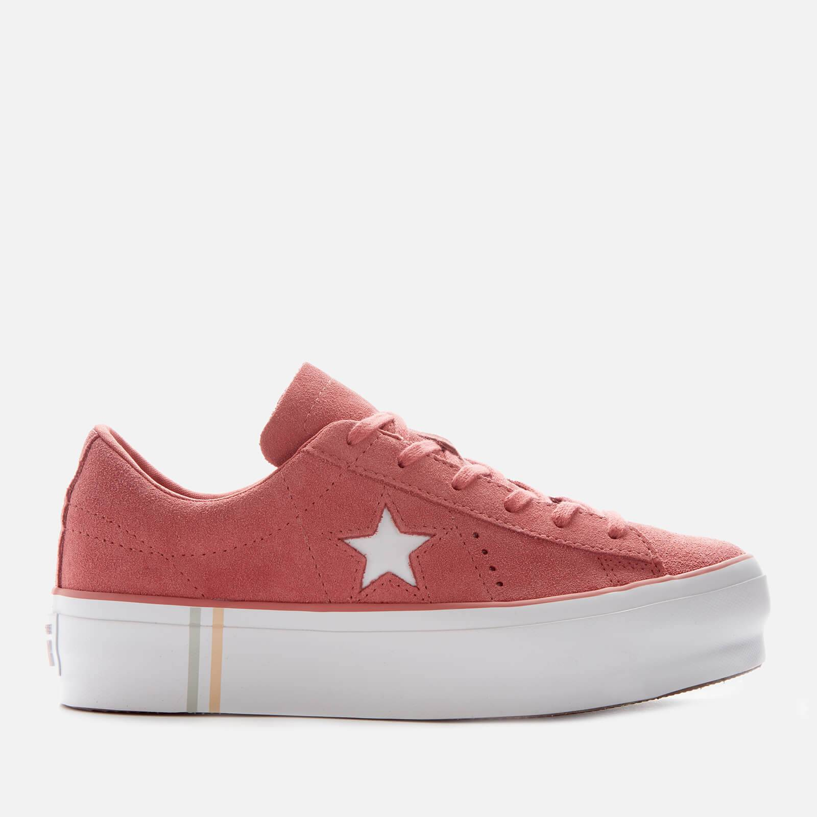 Converse Women's One Star Platform Seasonal Suede Ox Trainers - Light Redwood/White/White - UK 5 - Red