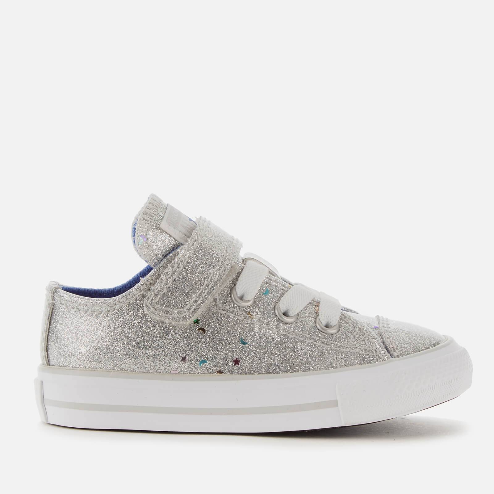 Converse Toddlers' Chuck Taylor All Star 1V Galaxy Glimmer Ox Trainers - Silver/Ozone Blue/White - UK 2 Toddler - Silver