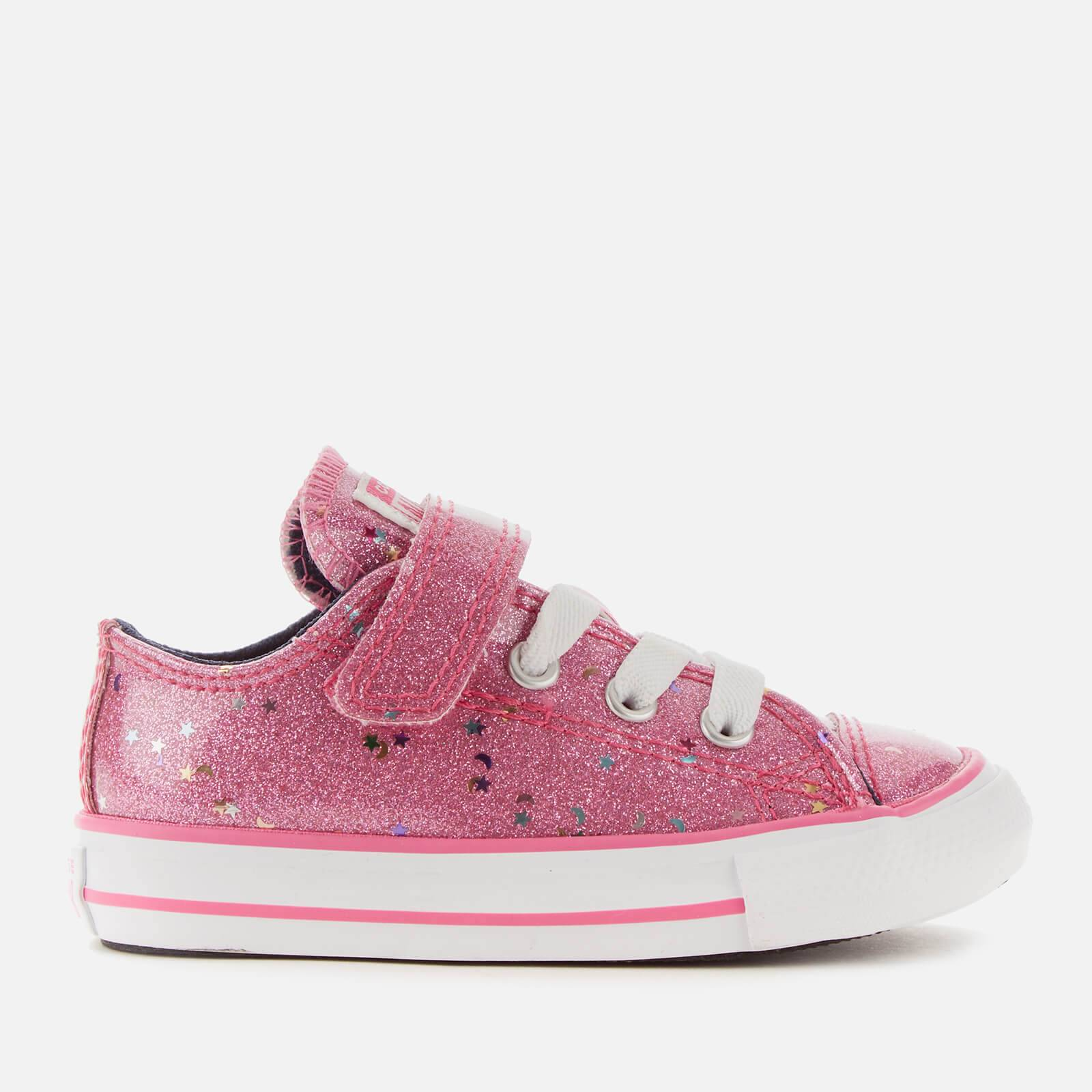 Converse Toddlers' Chuck Taylor All Star 1V Galaxy Glimmer Ox Trainers - Mod Pink/Obsidian/White - UK 5 Toddler - Pink