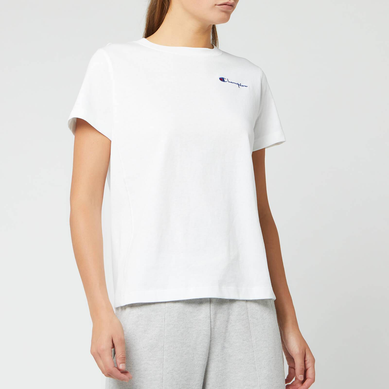 Champion Women's Small Script Crew Neck Short Sleeve T-Shirt - White - L