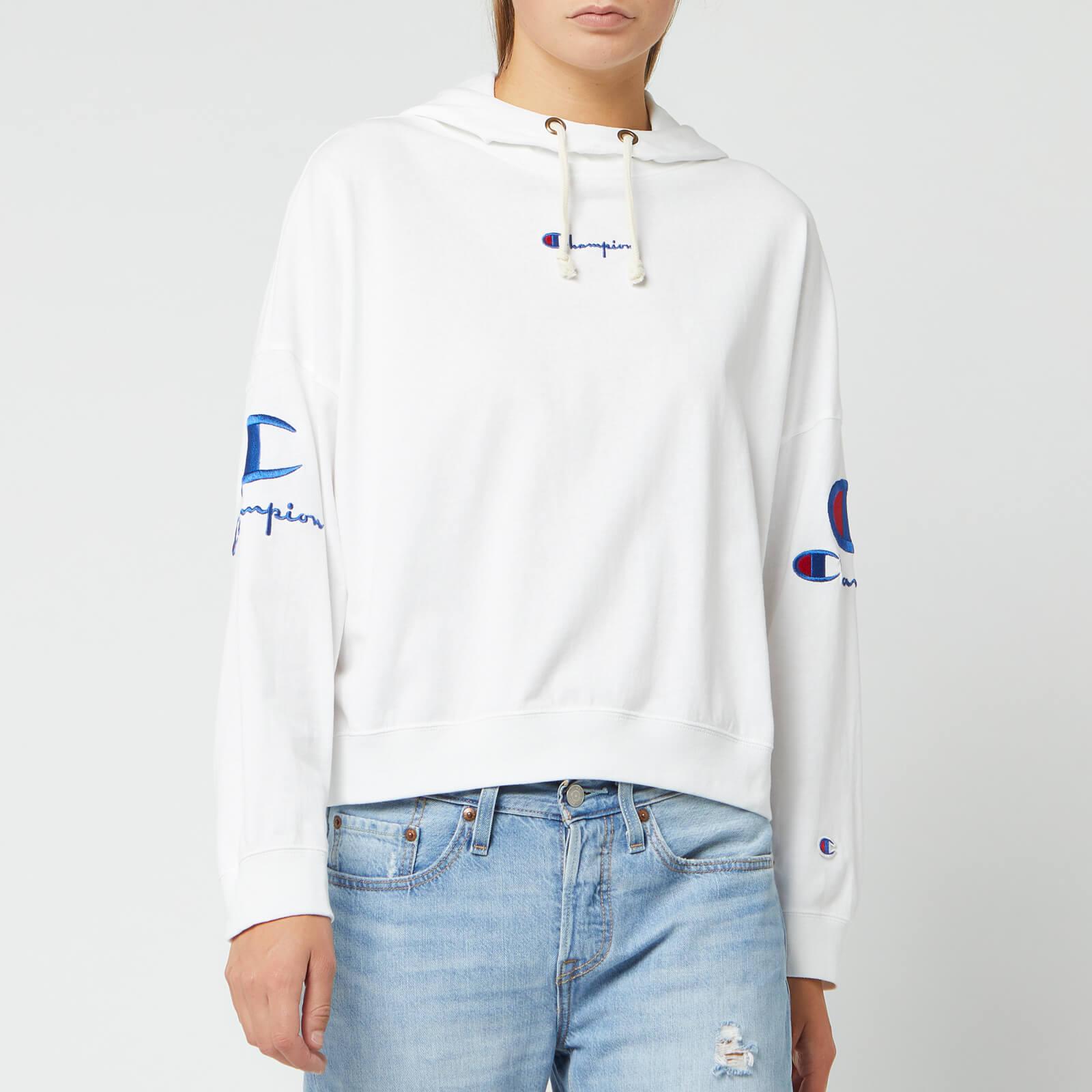 Champion Women's Sleeve Logo Hooded Sweatshirt - White - L
