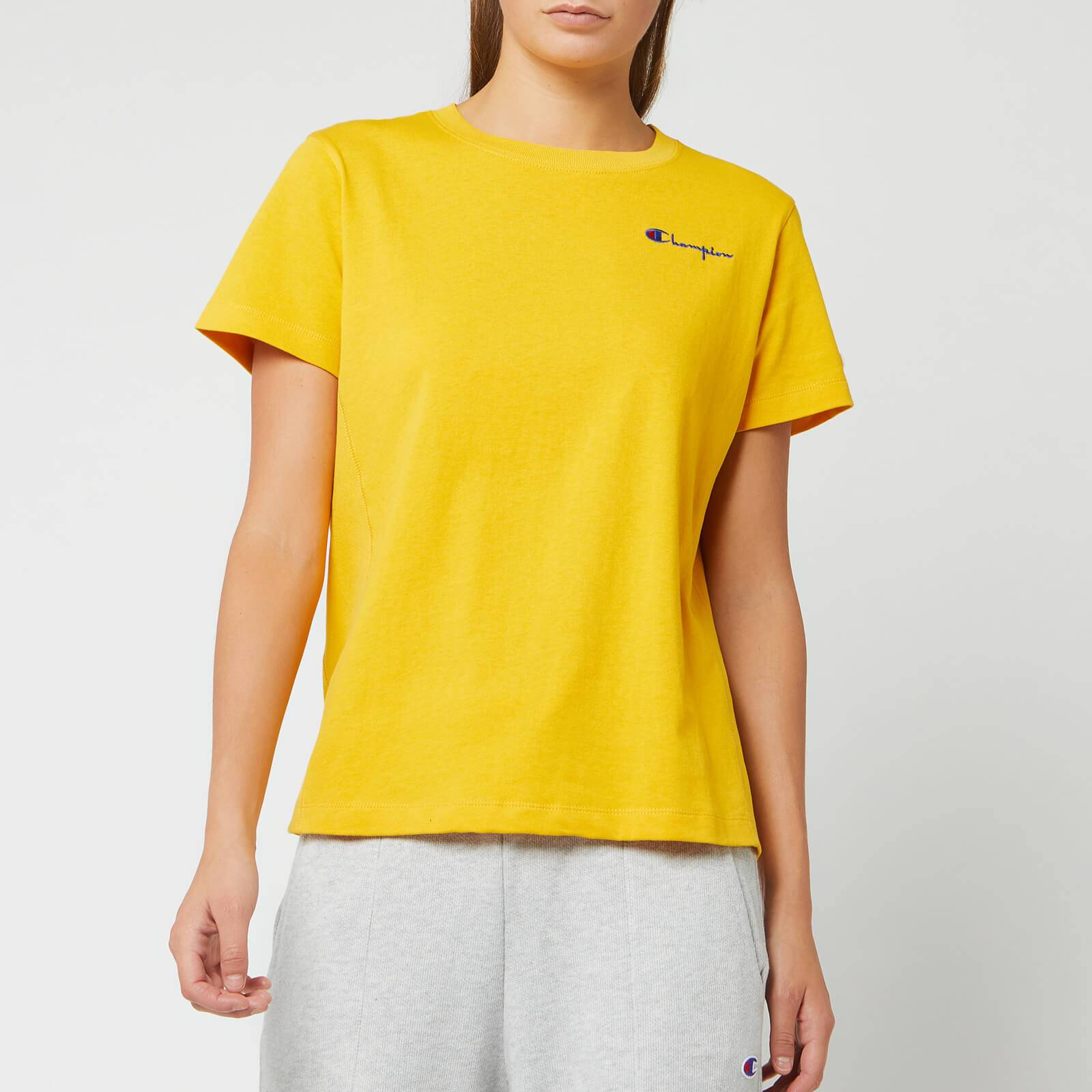 Champion Women's Small Script Crew Neck Short Sleeve T-Shirt - Golden Rod - XS