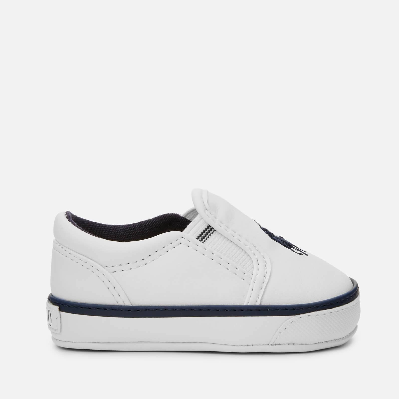 Ralph Lauren Polo Ralph Lauren Baby's Bal Harbour II Polo Player Slip On Trainers - White/Navy - UK 3.5 Baby/EU 19 - White