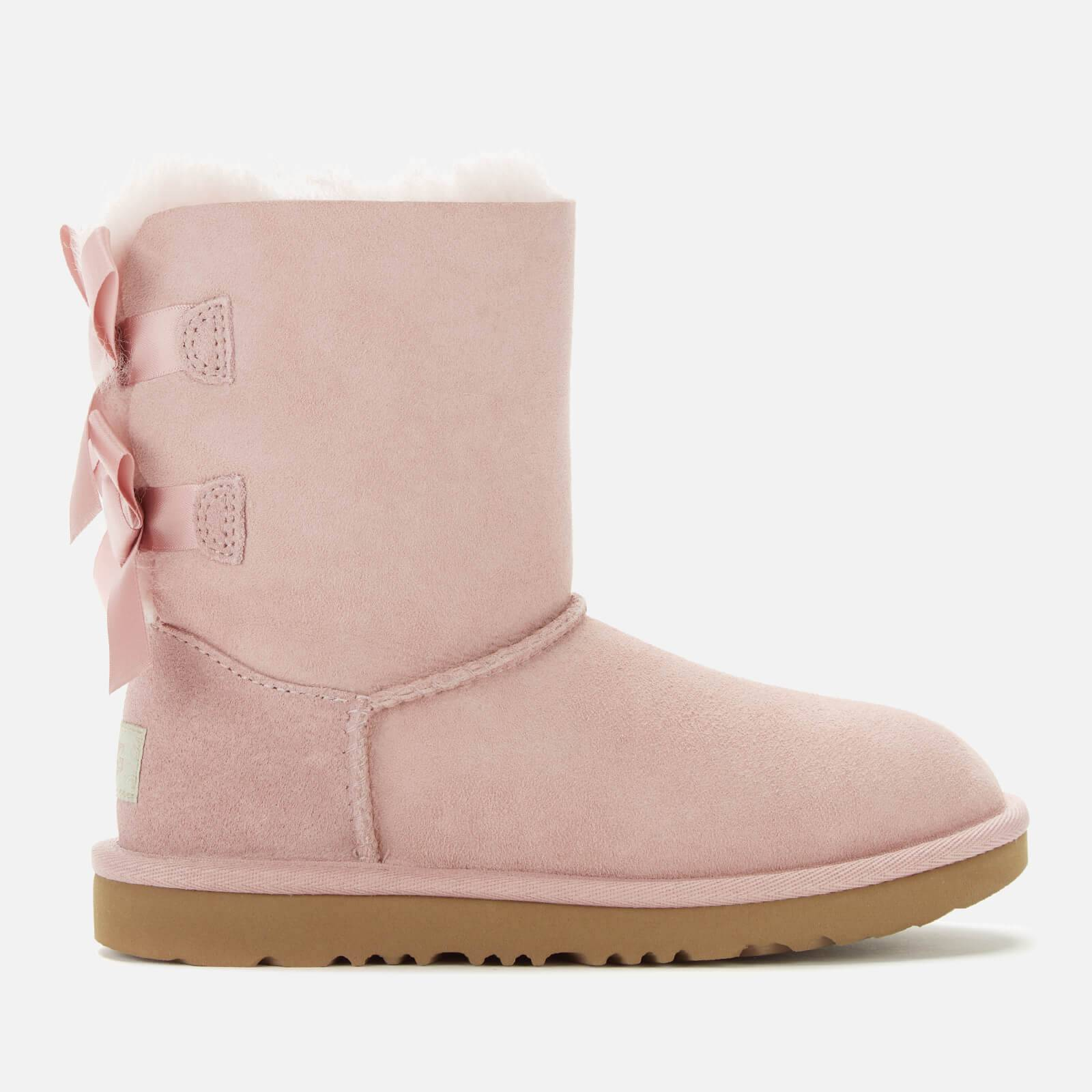 UGG Kids' Bailey Bow II Lace Back Sheepskin Boots - Pink Crystal - UK 12 Kids