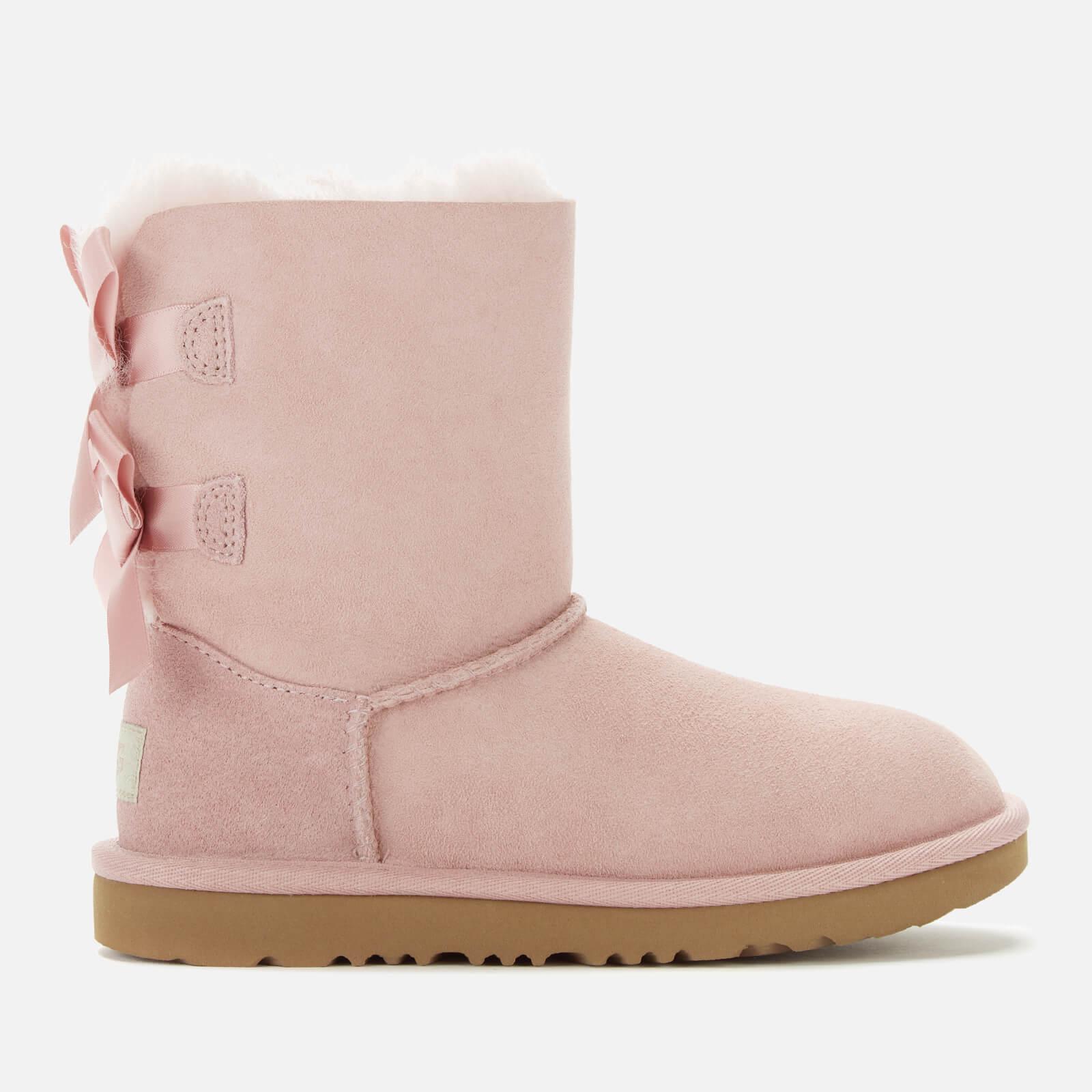 UGG Kids' Bailey Bow II Lace Back Sheepskin Boots - Pink Crystal - UK 12 Kids