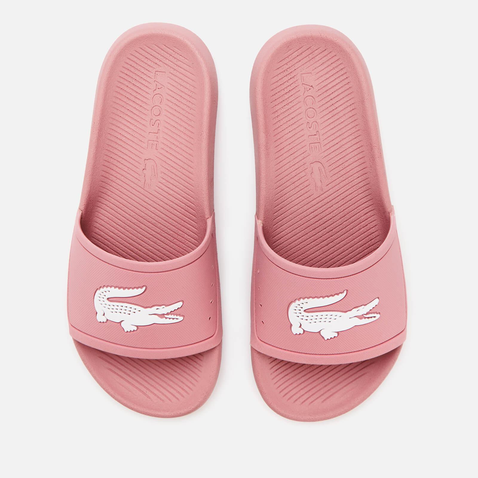 Lacoste Women's Croco Slide Sandals - Pink/White - UK 8