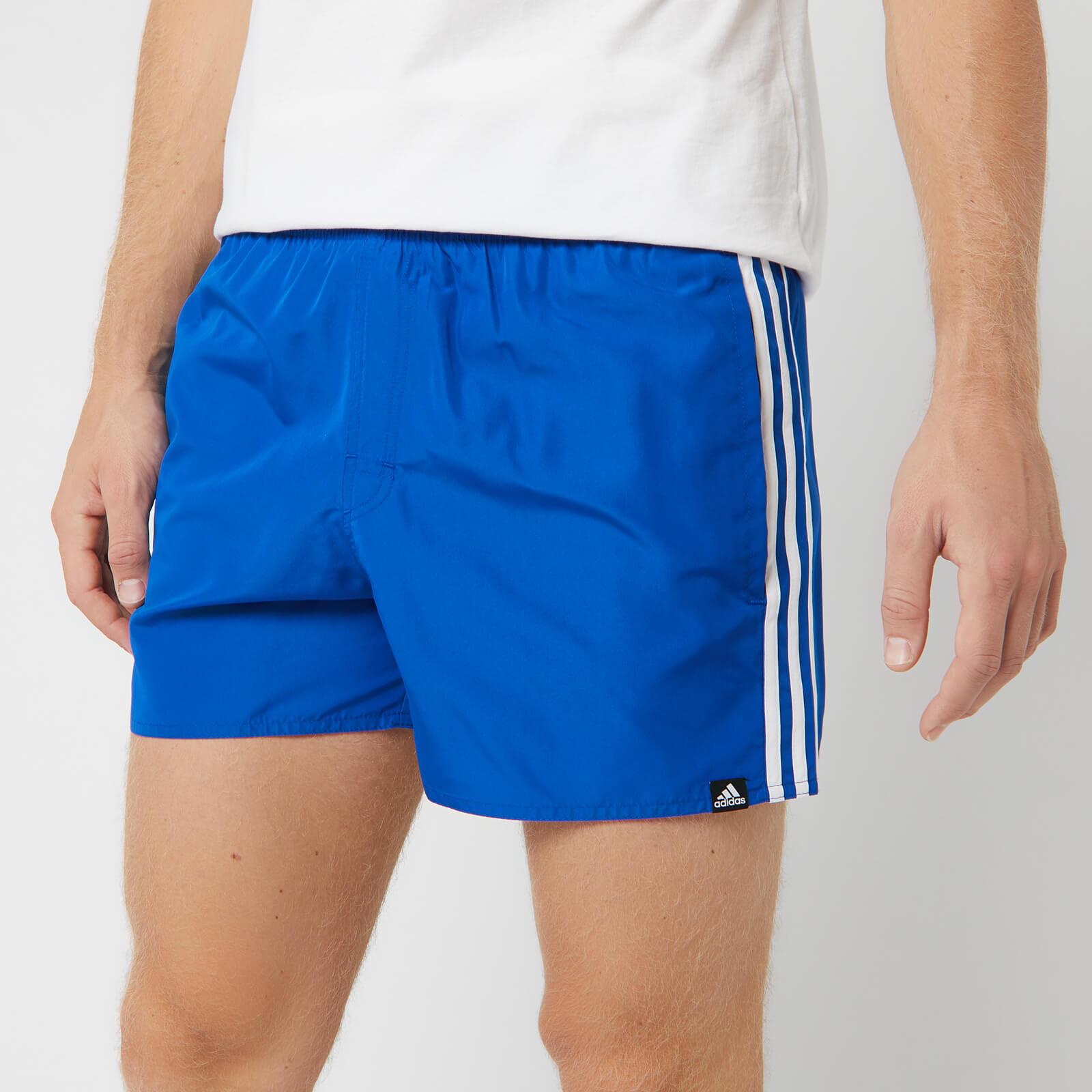 adidas Men's 3 Stripe Swim Shorts - Blue - S - Blue