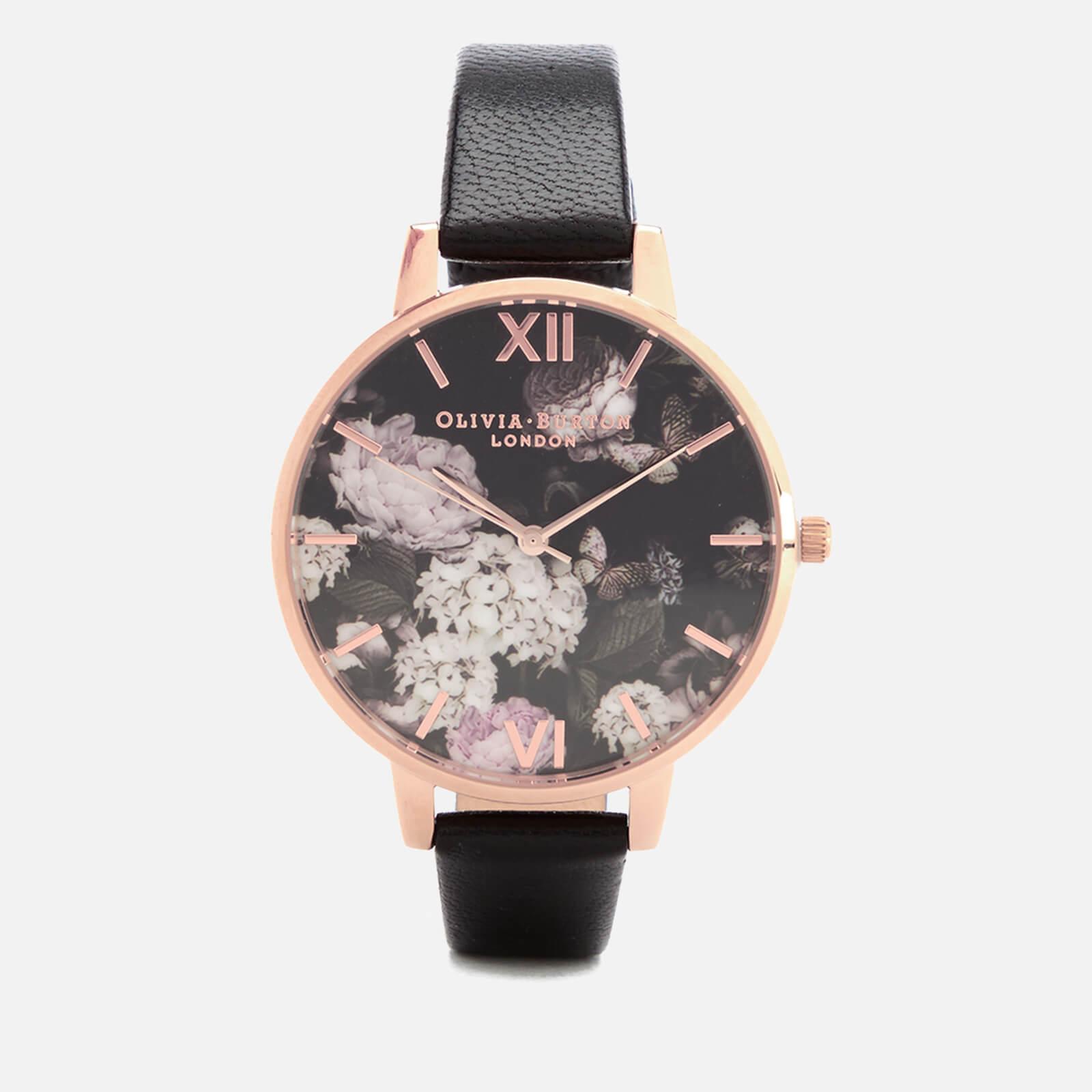 Olivia Burton Women's Signature Floral Watch - Black/Rose Gold