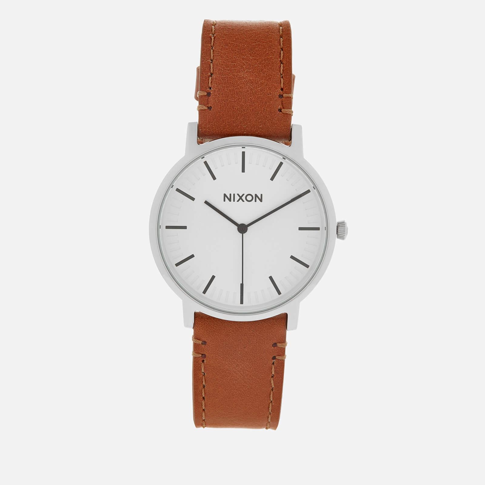 Nixon Men's The Porter Leather Watch - White Sunray/Saddle