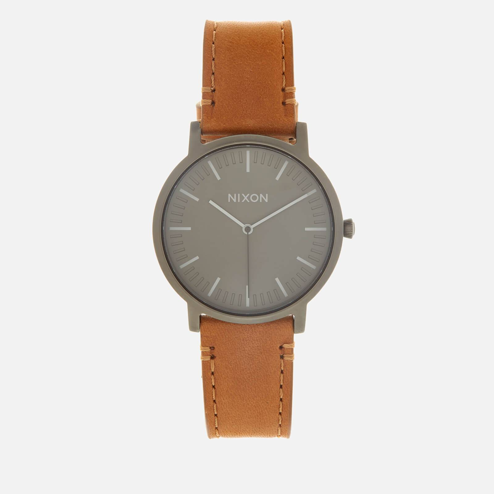 Nixon Men's The Porter Leather Watch - Gunmetal/Charcoal/Taupe
