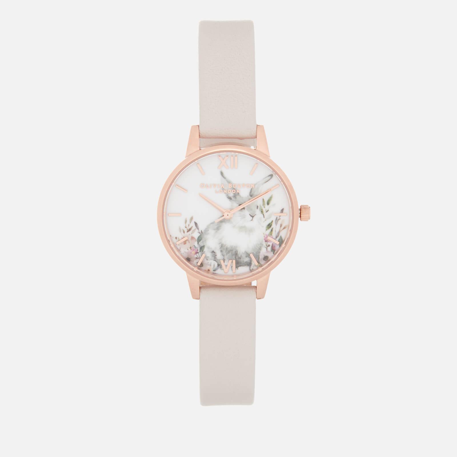 Olivia Burton Women's Illustrated Animals Bunny Watch - Blush and Rose Gold