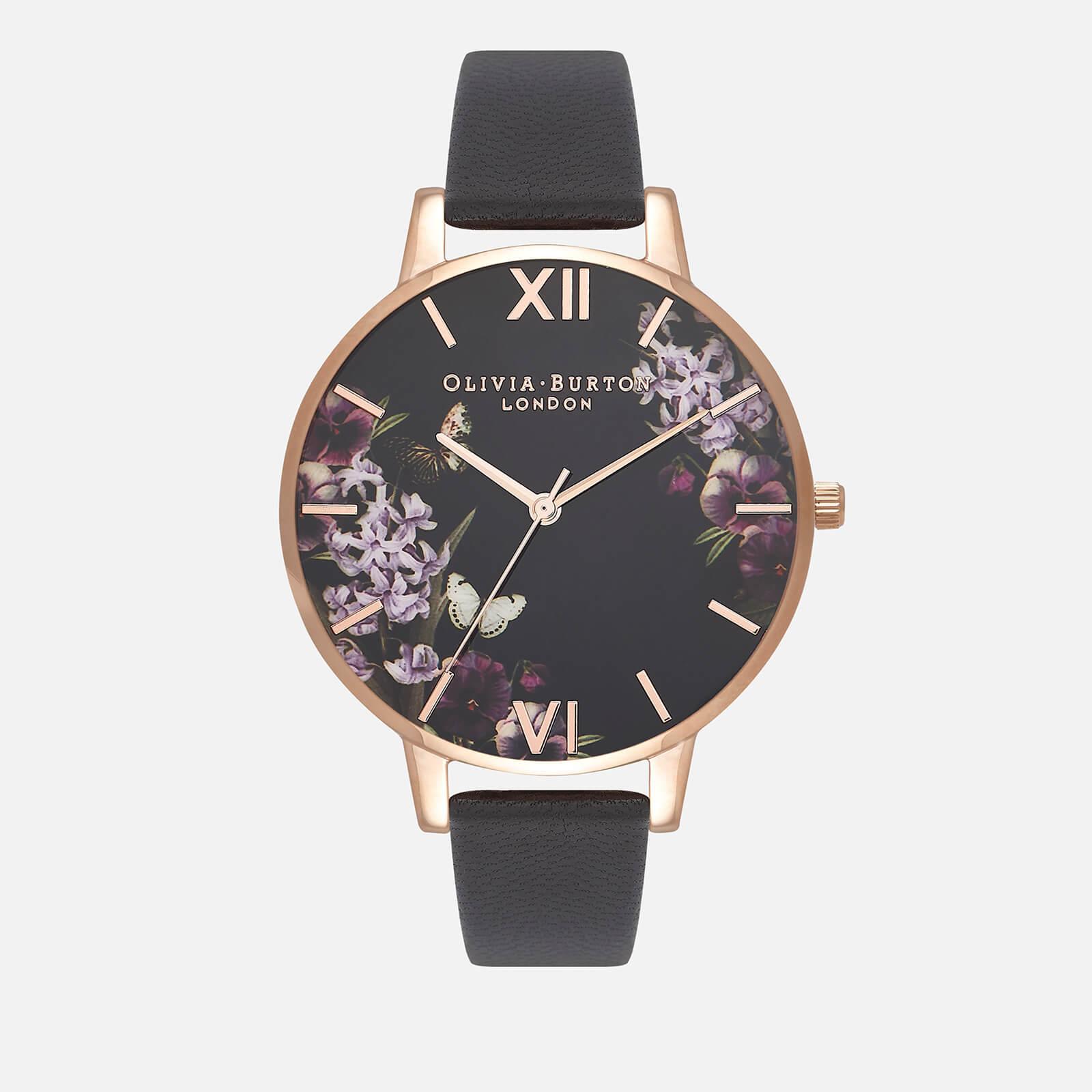 Olivia Burton Women's Enchanted Garden UK Exclusive Watch - Black/Rose Gold