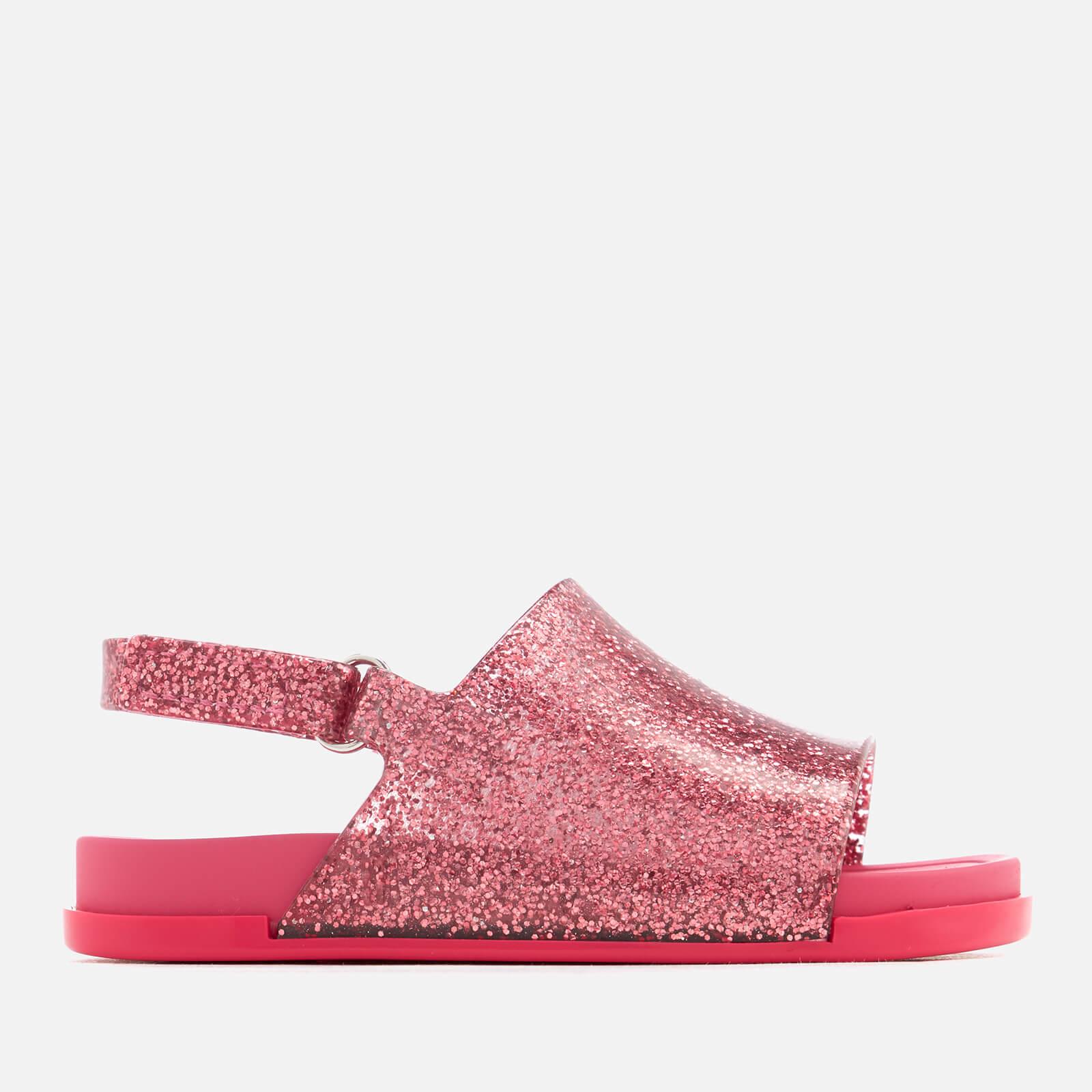 Mini Melissa Toddlers Beach Slide Sandals - Pink Glitter - UK 6 Toddler - Pink