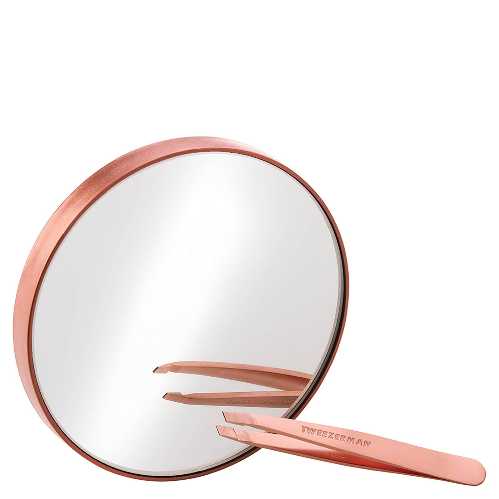 Tweezerman Rose Gold Mini Slant Tweezer and 10x Mirror