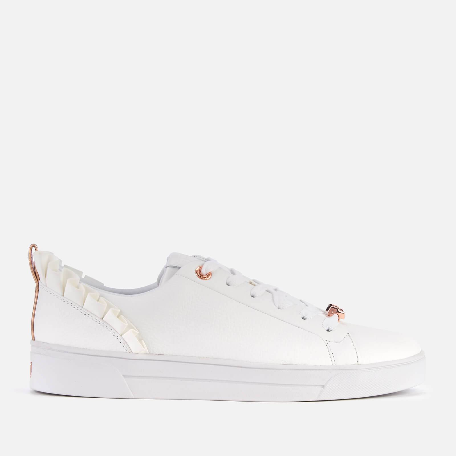 Ted Baker Women's Astrina Leather Frill Low Top Trainers - White - UK 8 - White