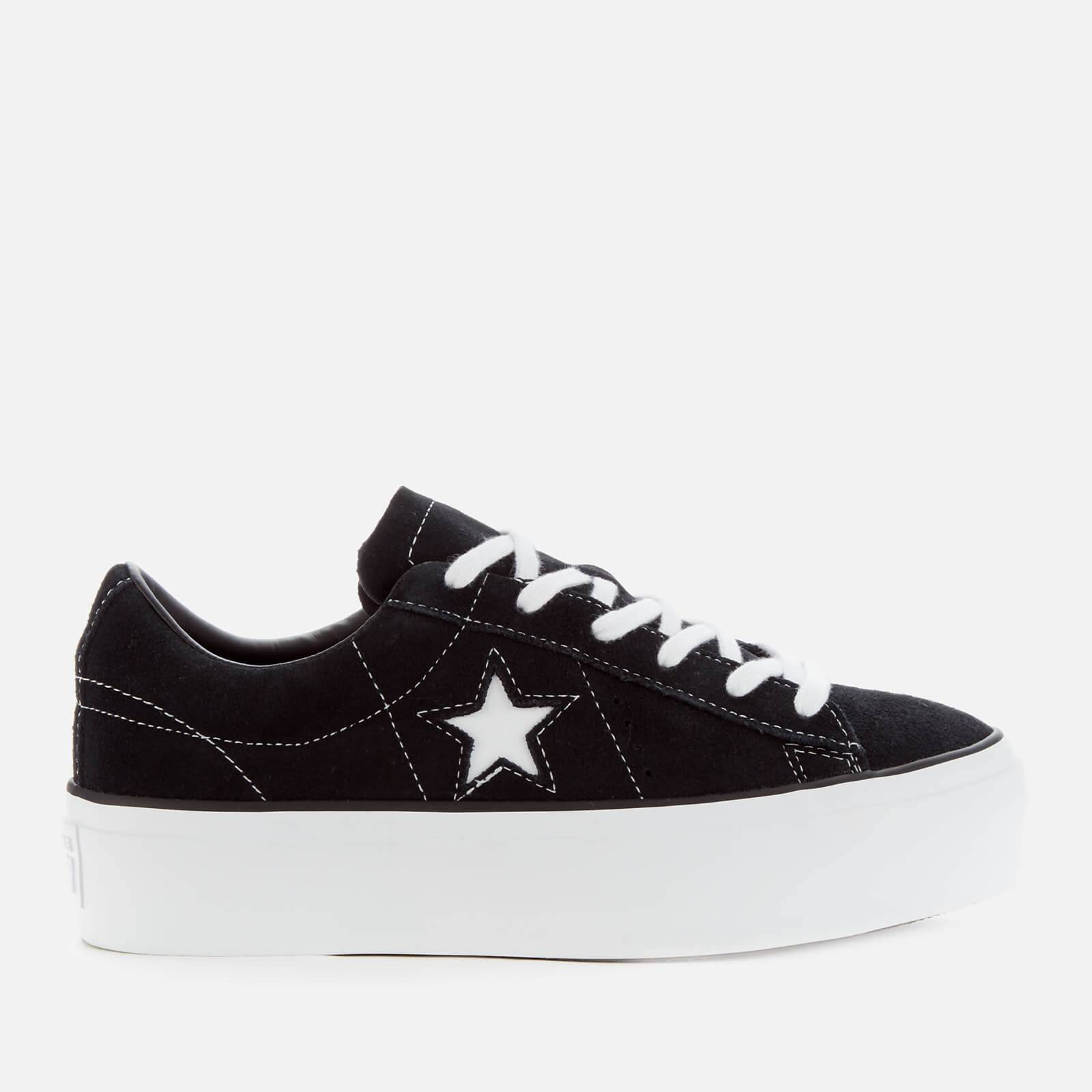 Converse Women's One Star Platform Ox Trainers - Black/Black/White - UK 4 - Black