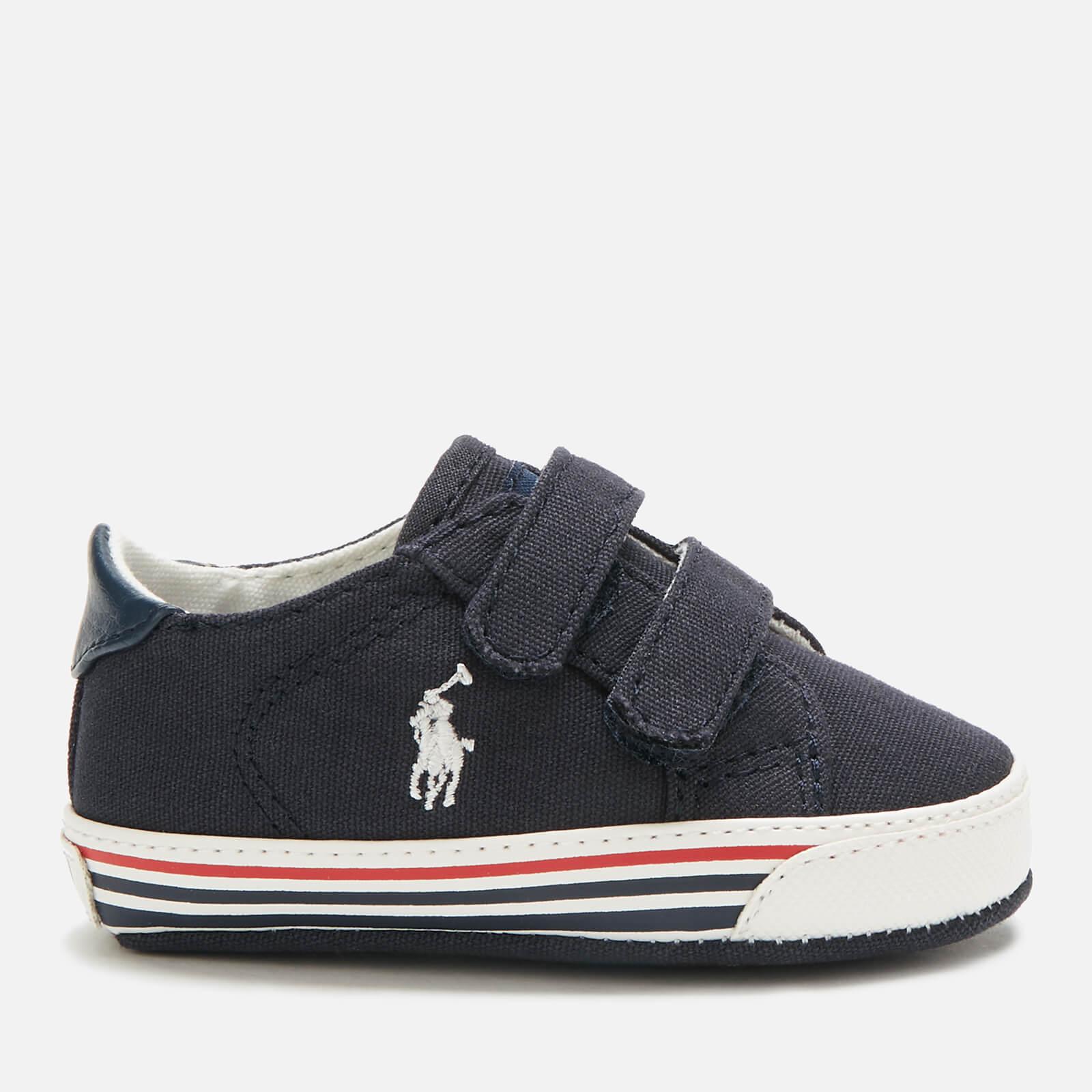 Ralph Lauren Polo Ralph Lauren Babies' Edgewood Ez Canvas Velcro Trainers - Navy/White PP - UK 0.5 Baby/EU 16 - Blue