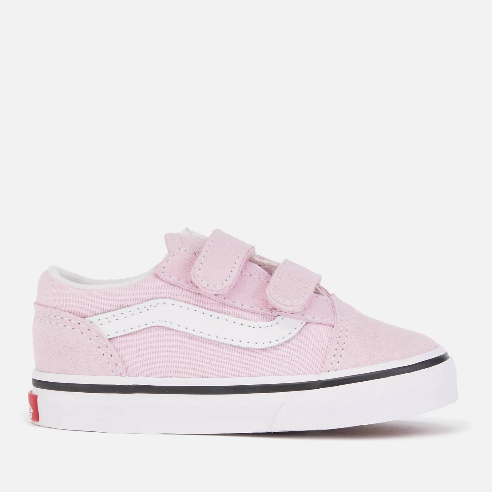 Vans Toddlers' Old Skool Velcro Trainers - Lilac Snow/True White - UK 7 Toddler