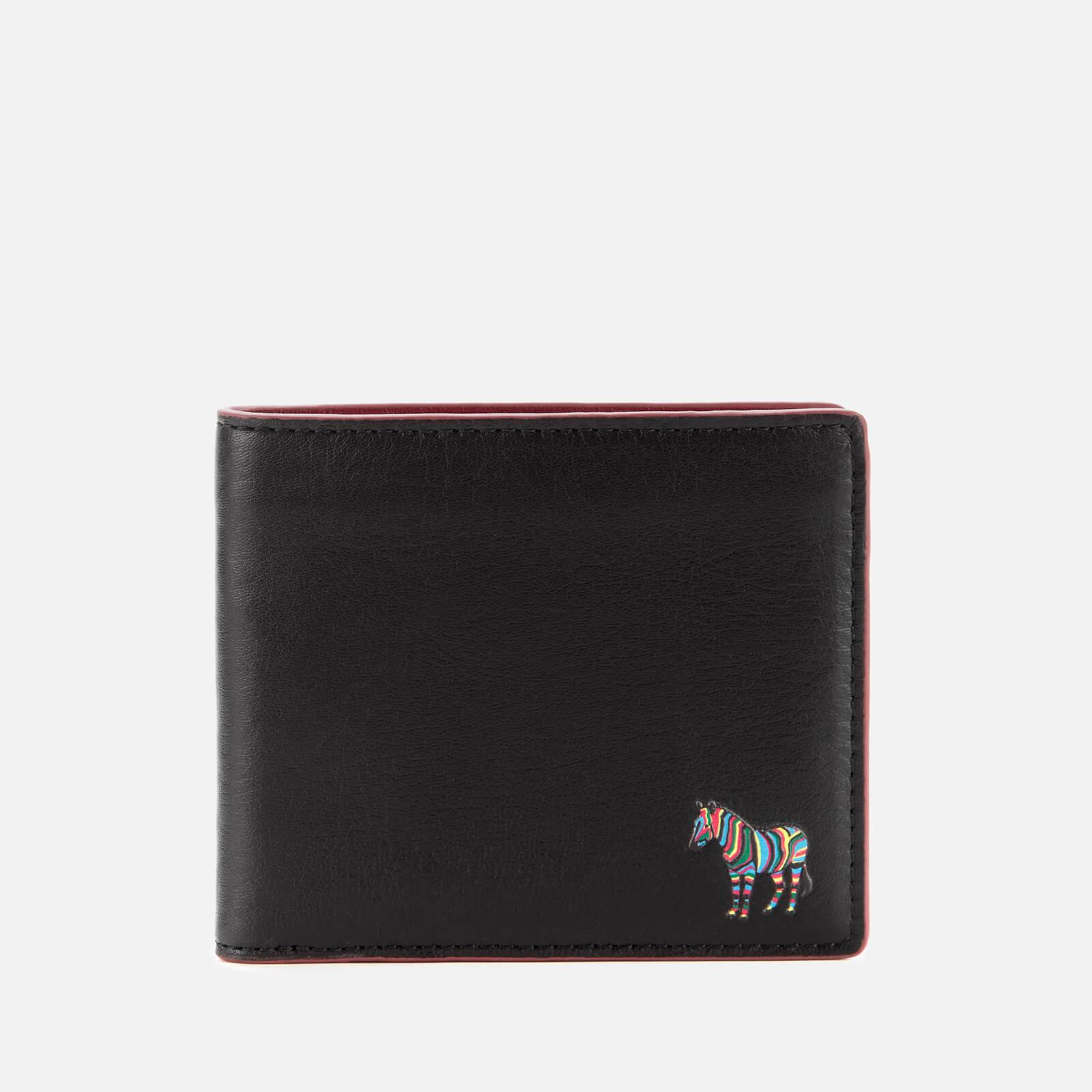 PS Paul Smith Men's Bifold Zebra Wallet With Coin Pouch - Black