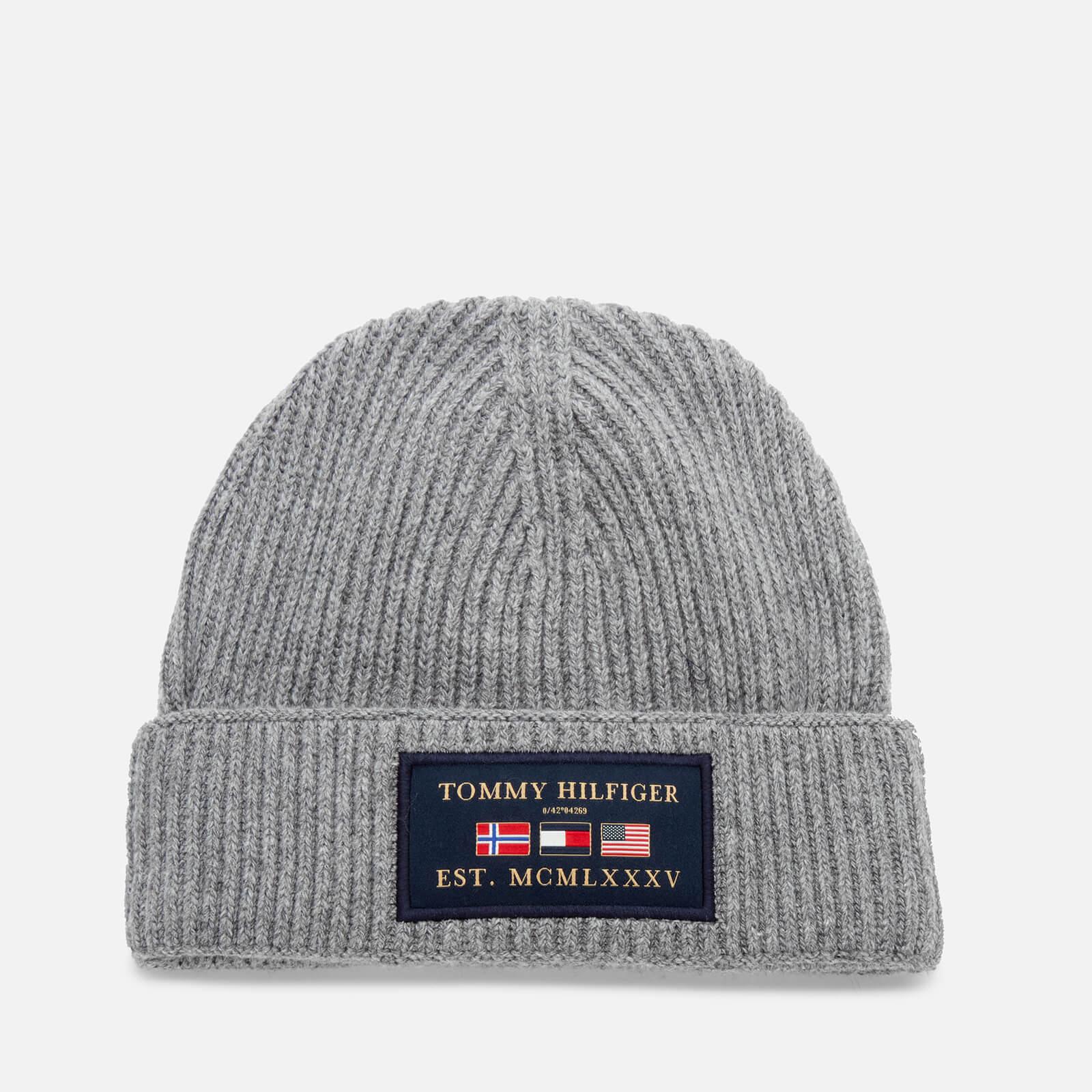 Tommy Hilfiger Men's Outdoors Patch Beanie Hat - Mid Grey Melange