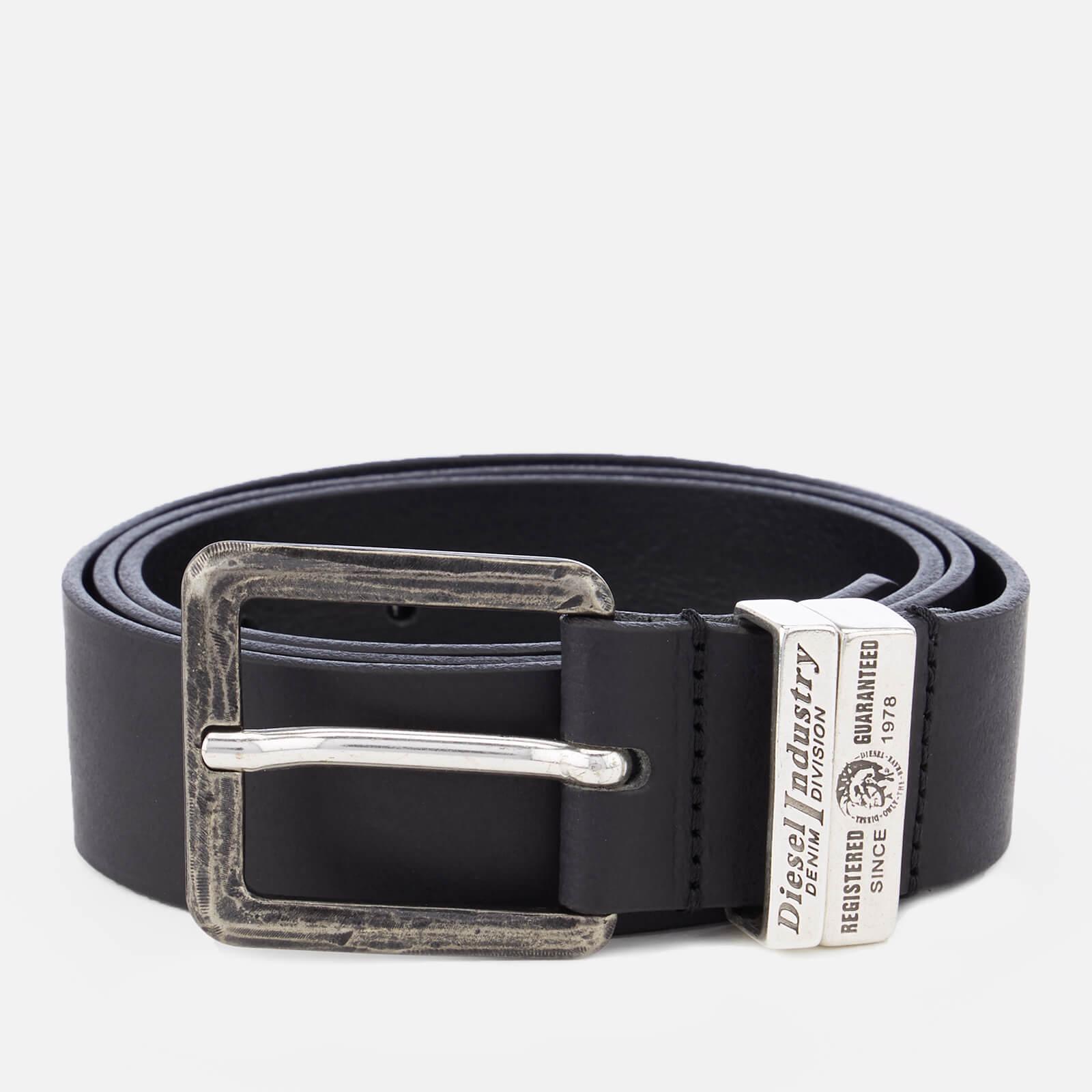 Diesel Men's Guarantee Leather Belt - Black - W42/105cm - Black