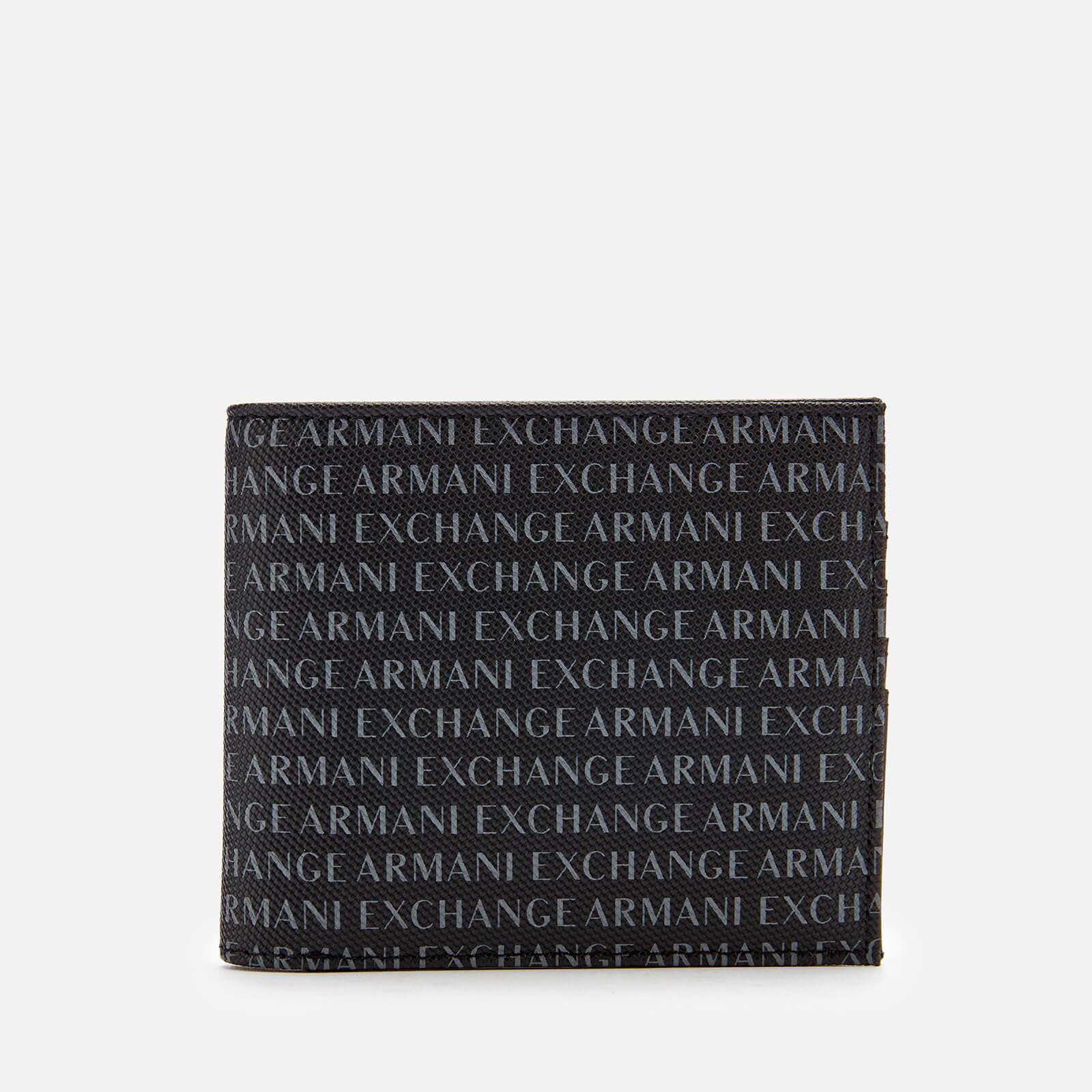 Armani Exchange Men's All Over Logo Bifold Wallet - Black