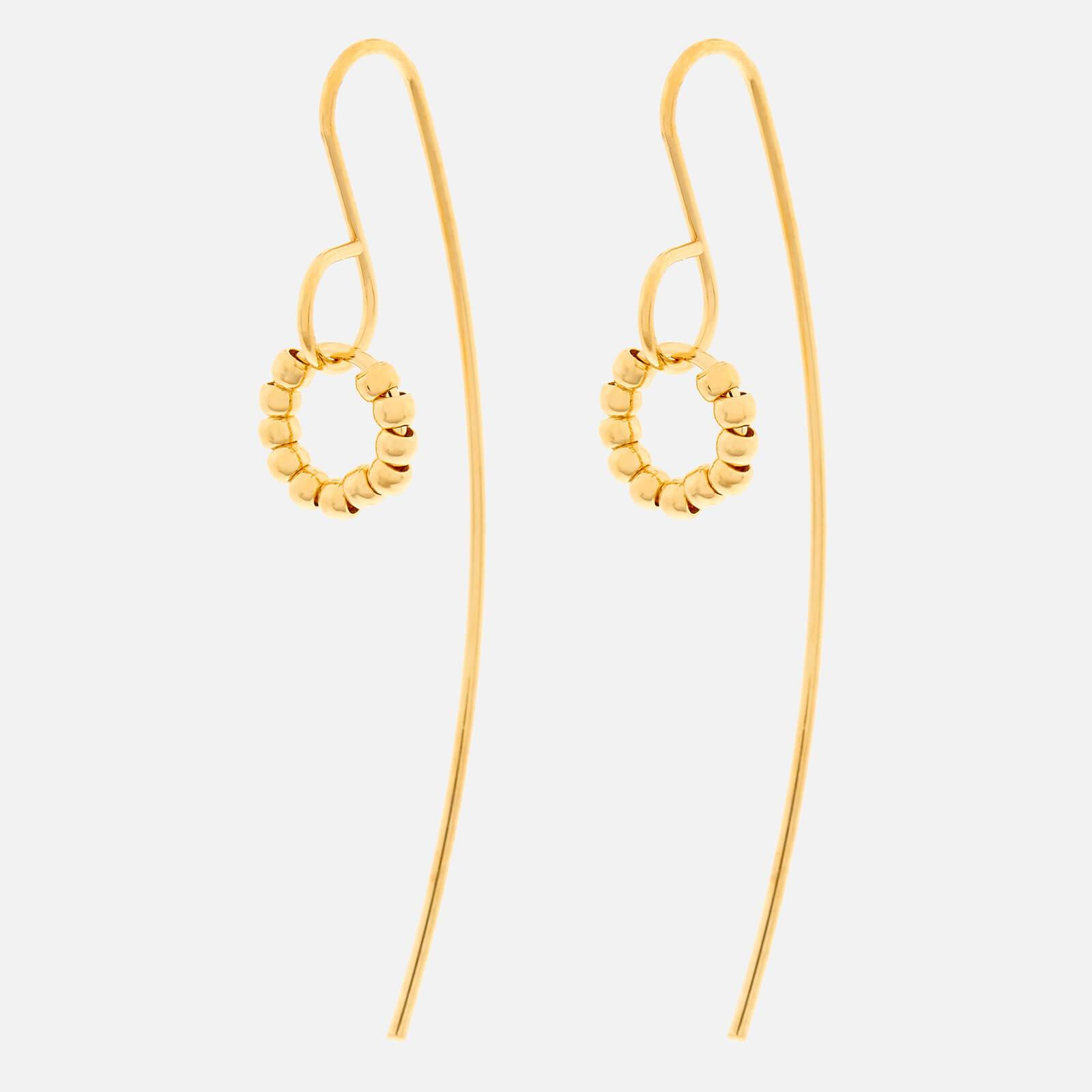 Whistles Women's Seed Bead Curve Wire Earrings - Gold