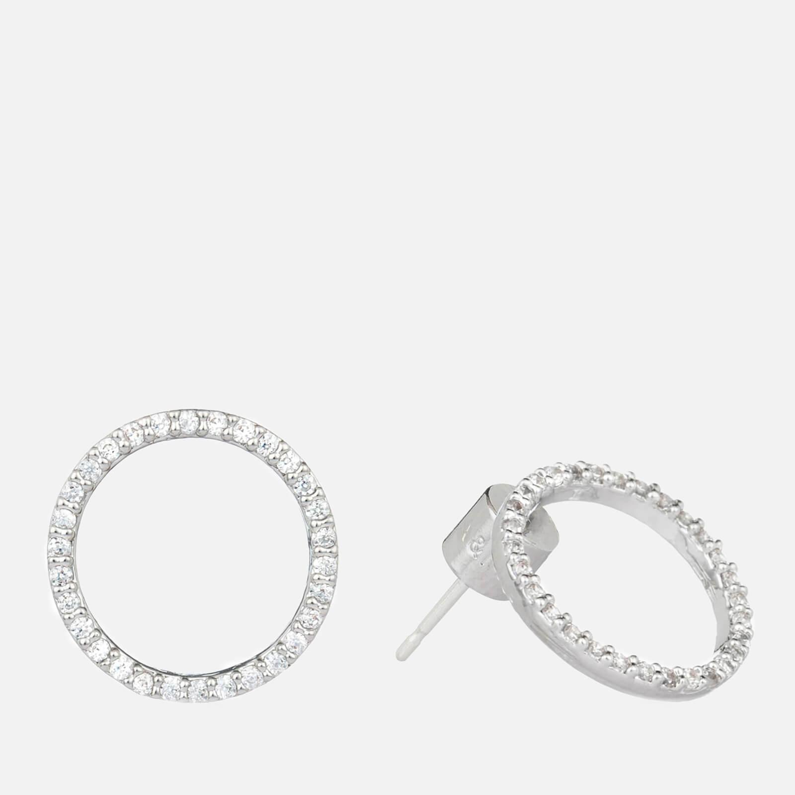 Astrid & Miyu Women's Tuxedo Circle Earrings - Silver