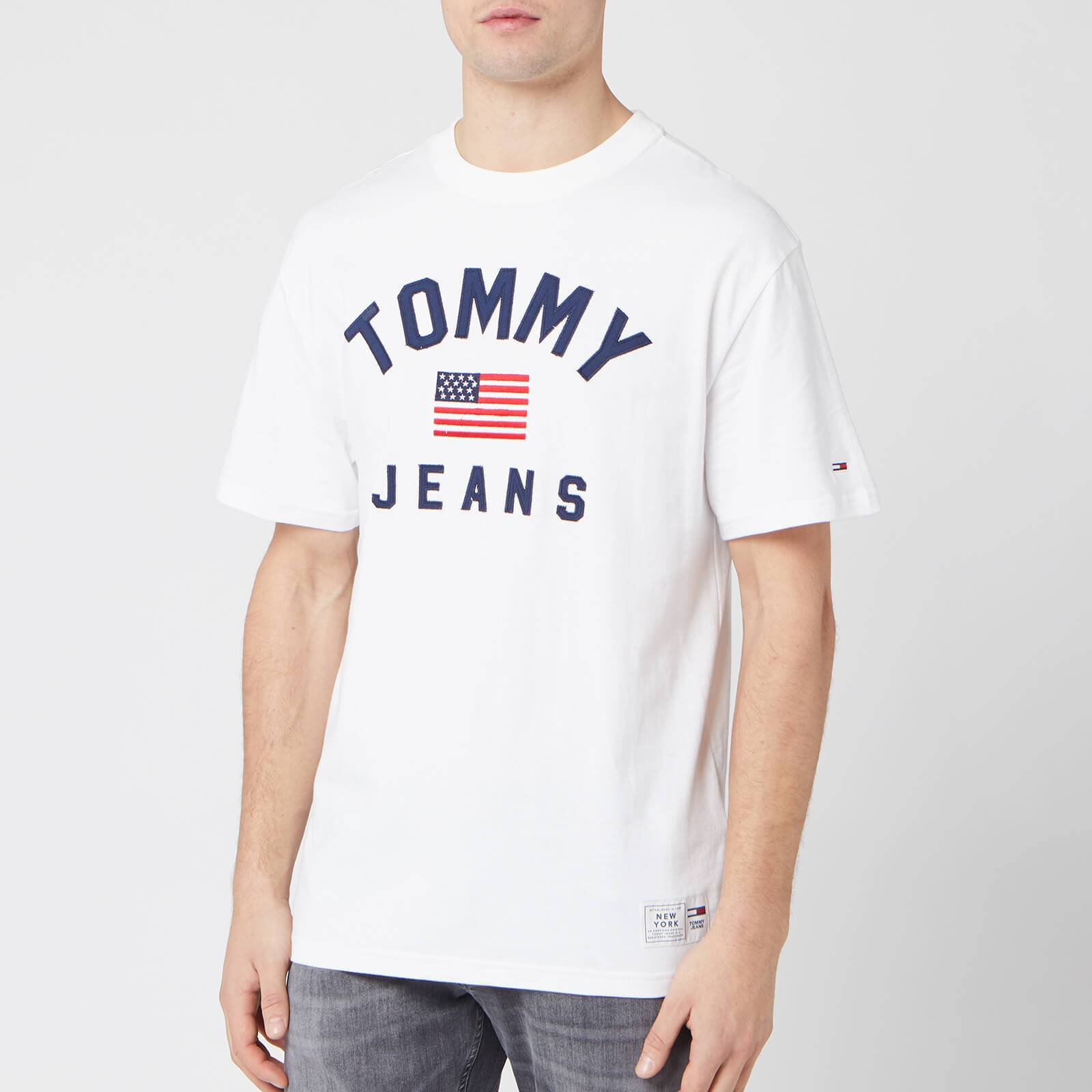 Tommy Jeans Men's USA Flag T-Shirt - Classic White - XXL