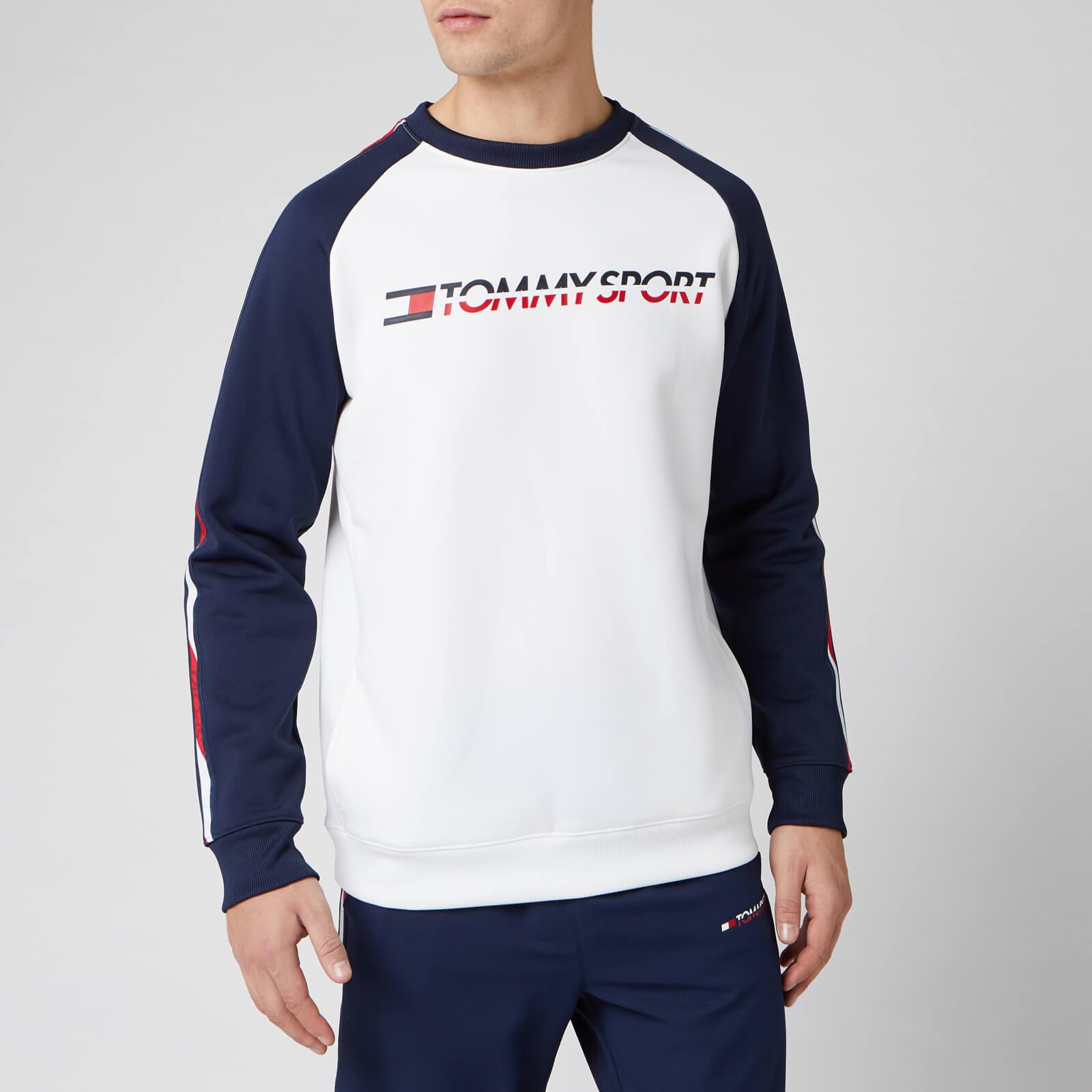 Tommy Sport Men's Fleece Tape Crew Neck Sweatshirt - PVH White - L