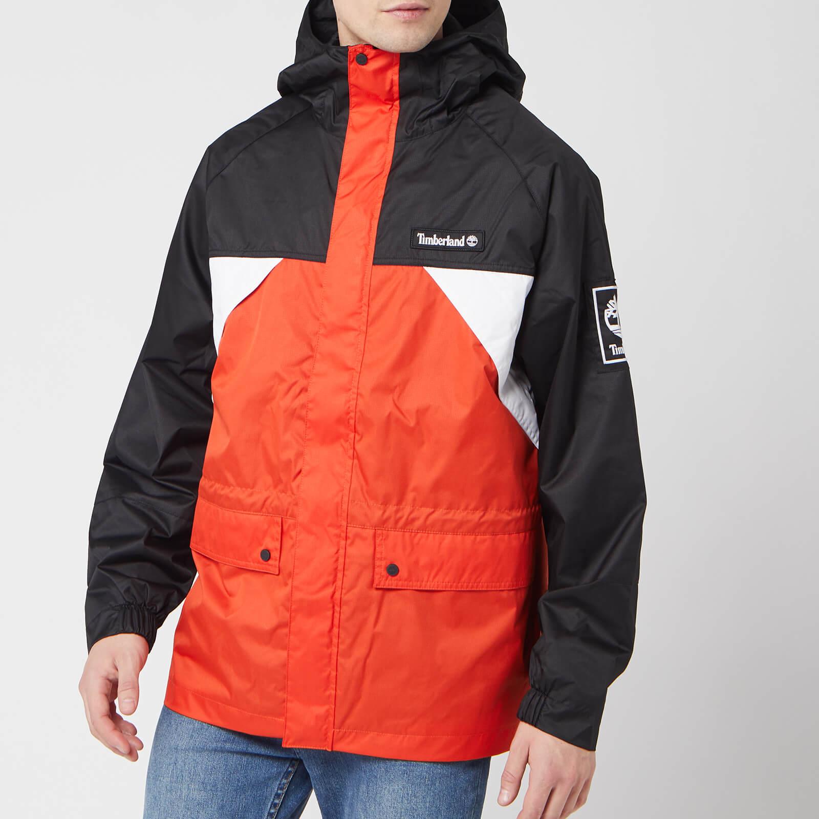 Timberland Men's Outdoor Archive Weather Breaker Coat - White/Spicy Orange/Black - M
