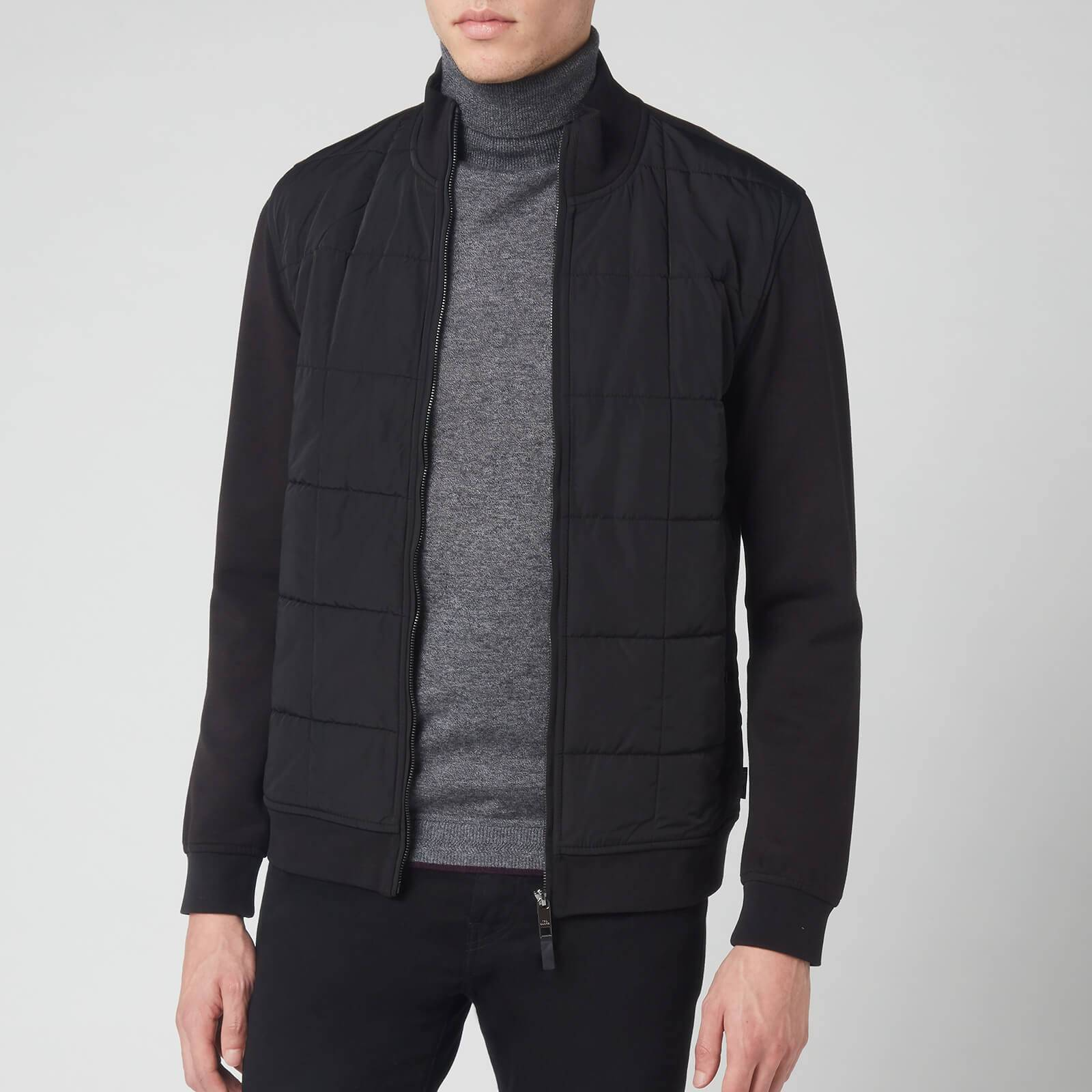 Ted Baker Men's Pasport Long Sleeve Quilted Funnel Neck Sweatshirt - Black - M/3