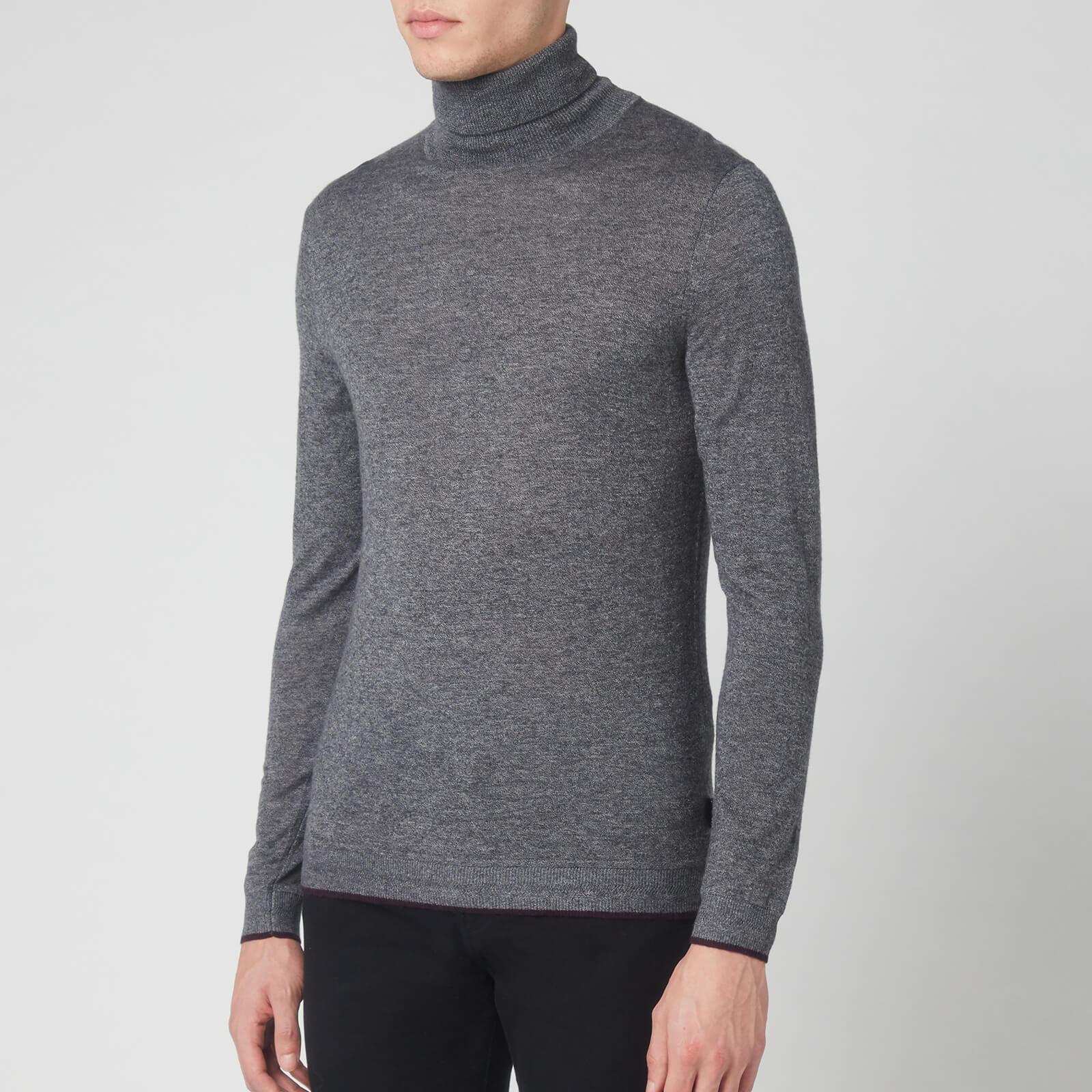 Ted Baker Men's Newtrik Fitted Roll Neck Sweatshirt - Grey Marl - L/4