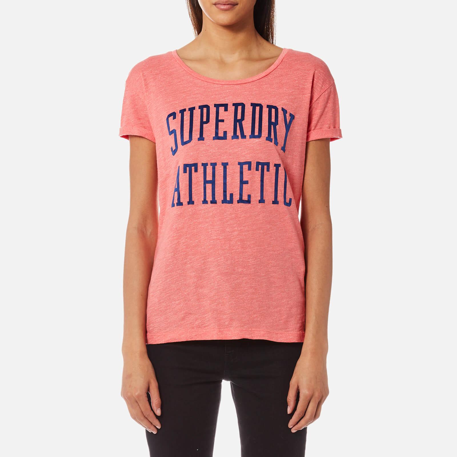 Superdry Women's Athletic Slim Boyfriend T-Shirt - Cheerleader Pink - S - Pink