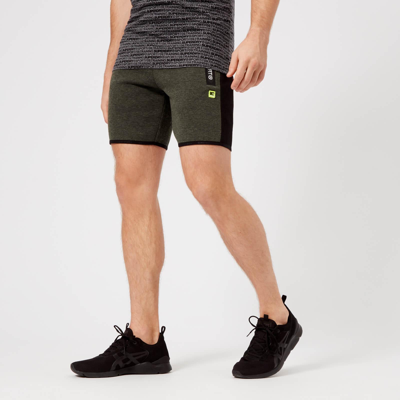 Superdry Sport Men's Stripe Slim Shorts - Dessert Olive Marl - L - Green