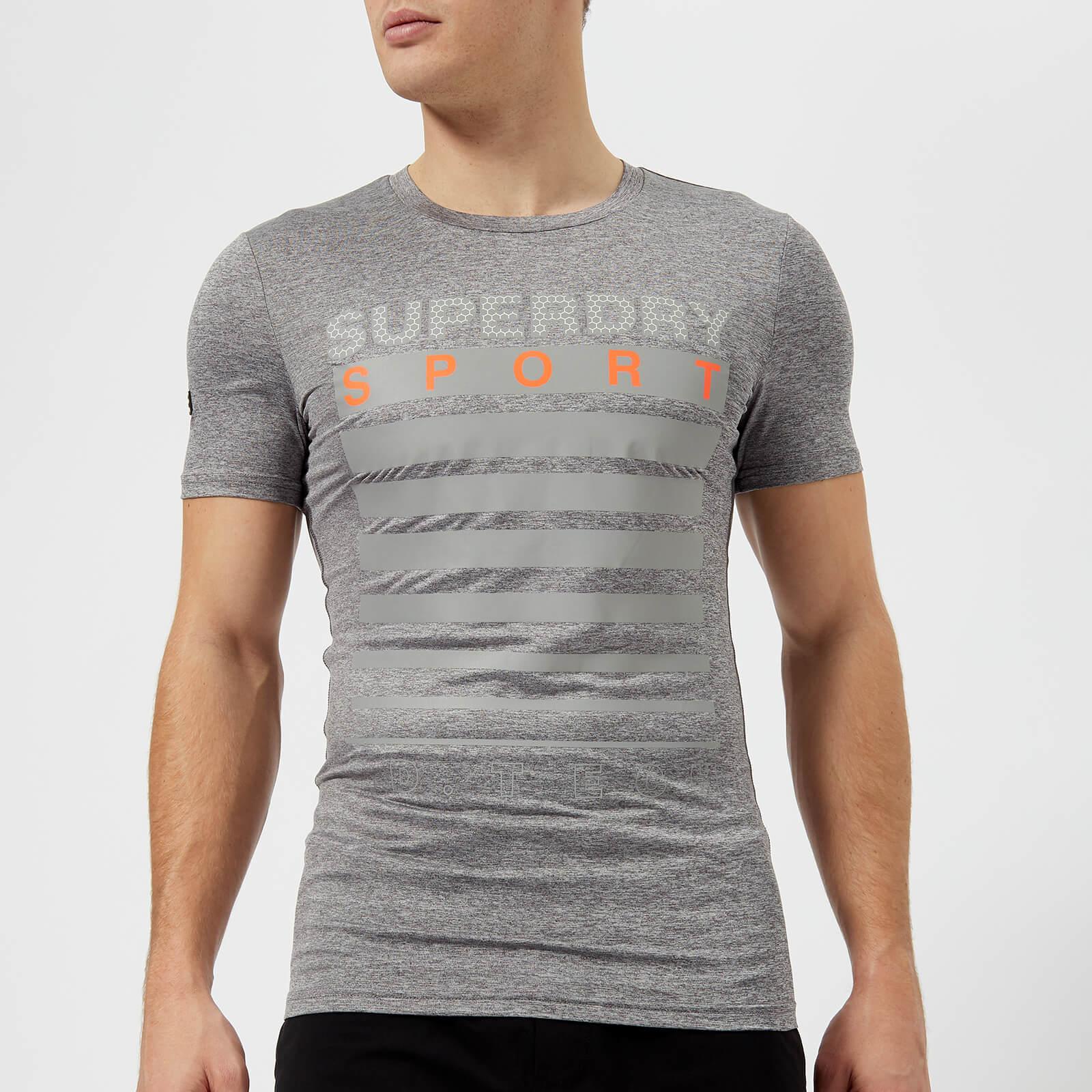 Superdry Sport Men's Athletic Graphic Short Sleeve T-Shirt - Mid Grey Grit - XXL - Grey