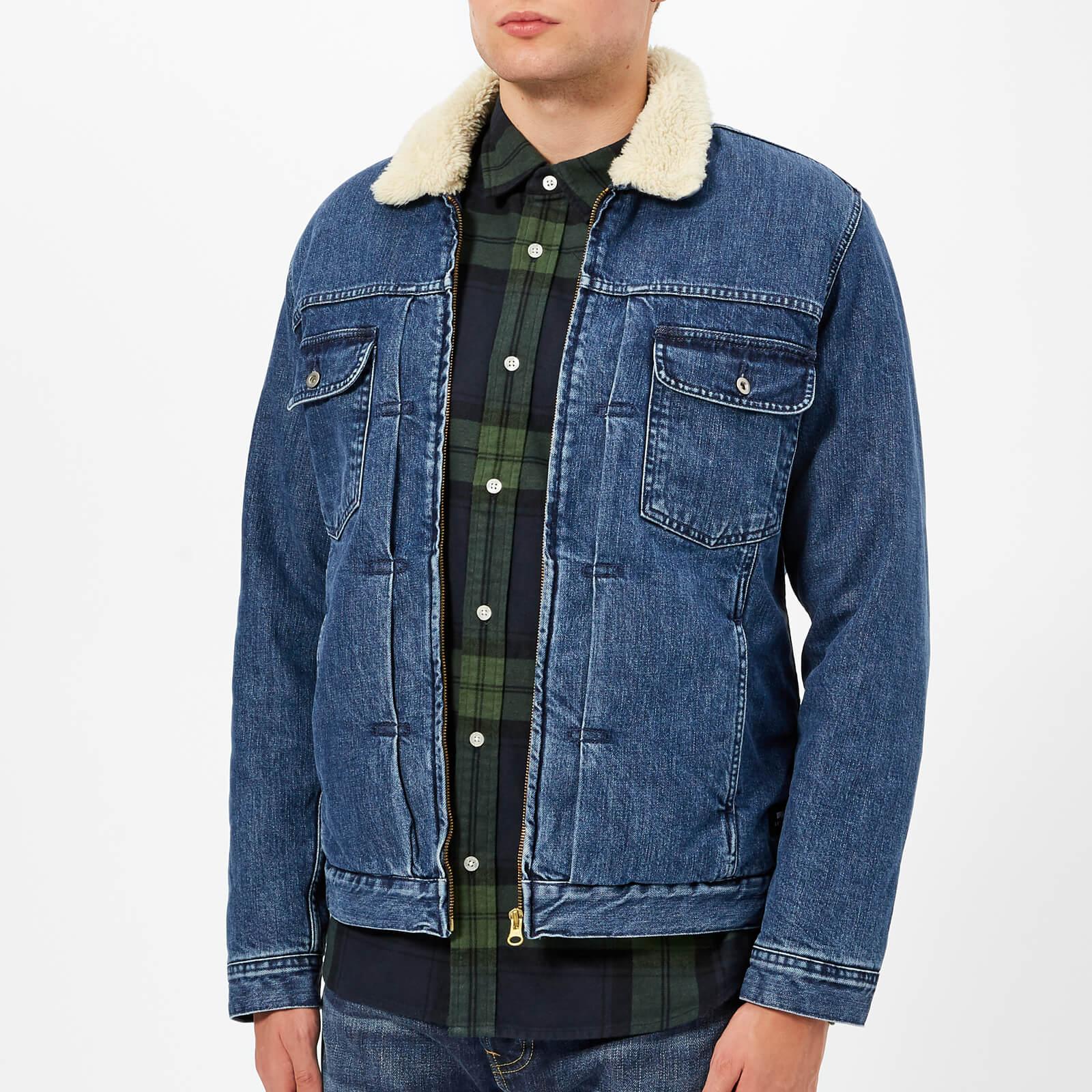 Edwin Men's Panhead Zipped Jacket - Mid Stone Wash - L - Blue