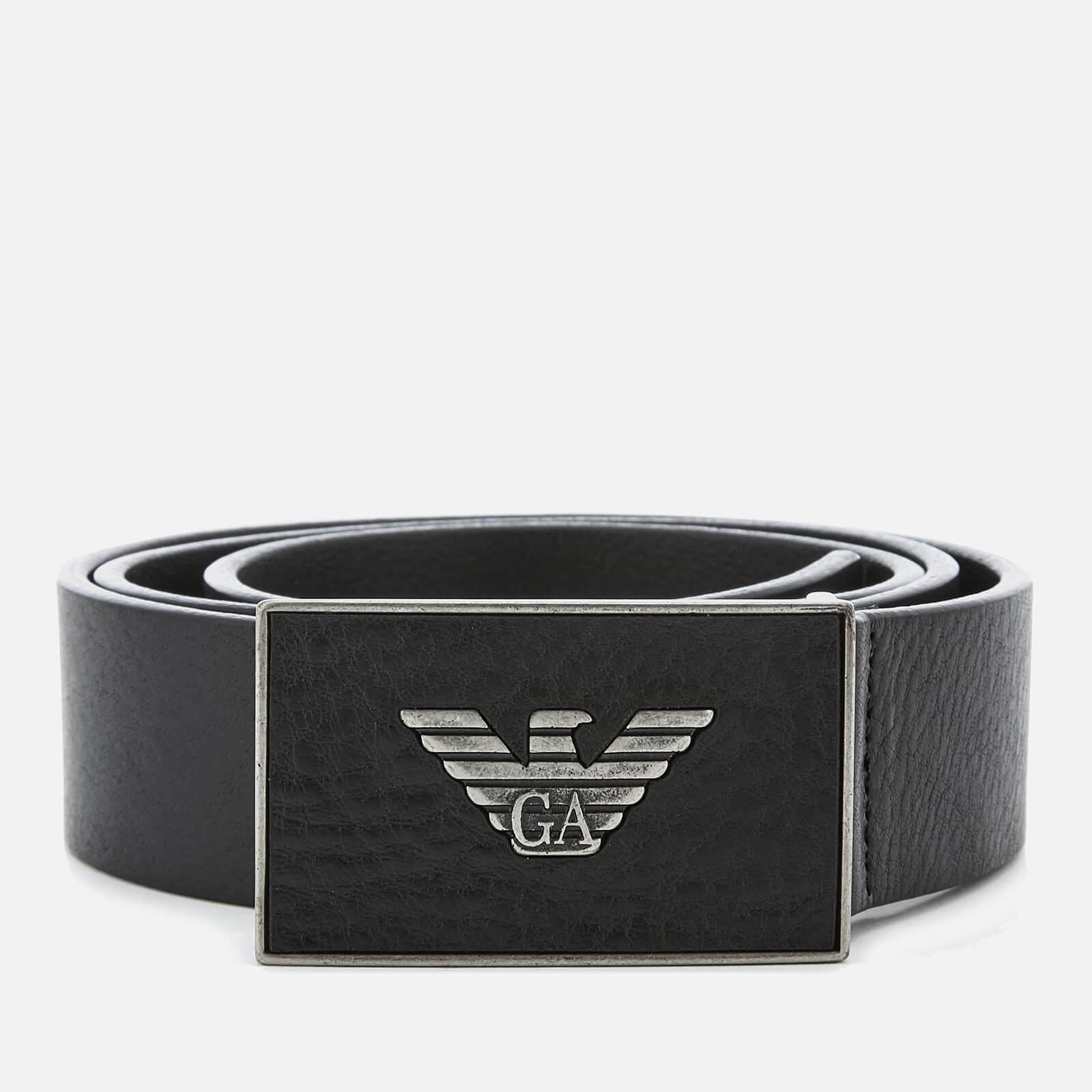 Emporio Armani s Plate Belt - Black - EU 90/W36 - Black