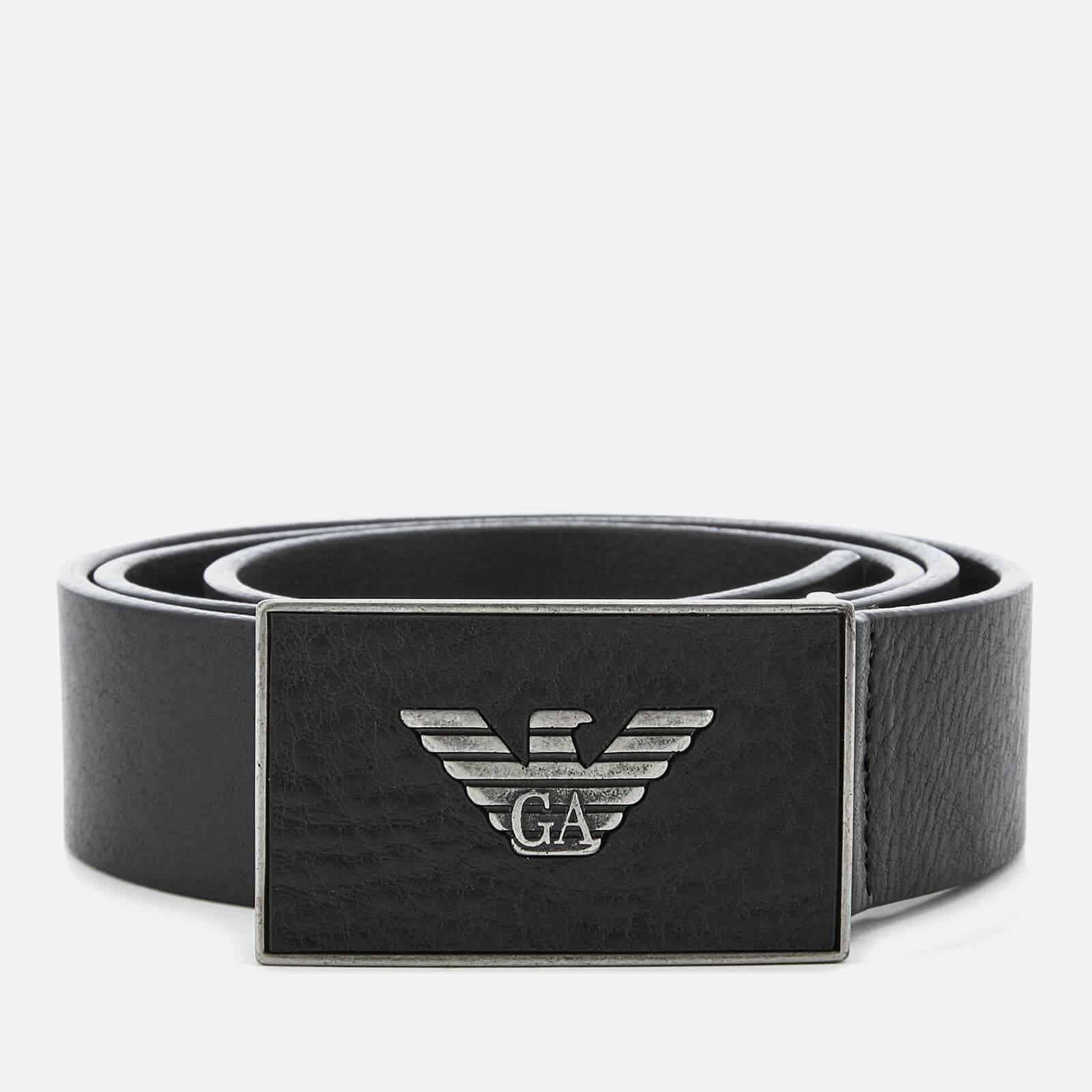 Emporio Armani s Plate Belt - Black - EU 95/W38 - Black
