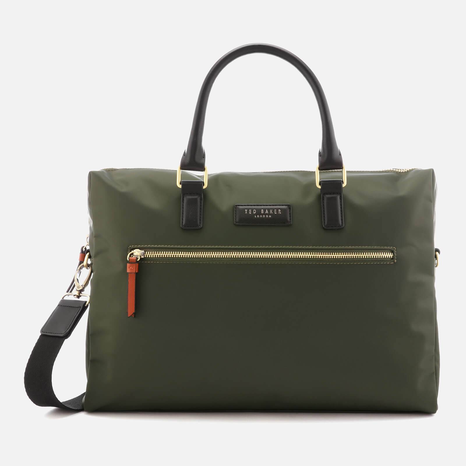Ted Baker Men's Dancer Satin Nylon Document Bag - Olive