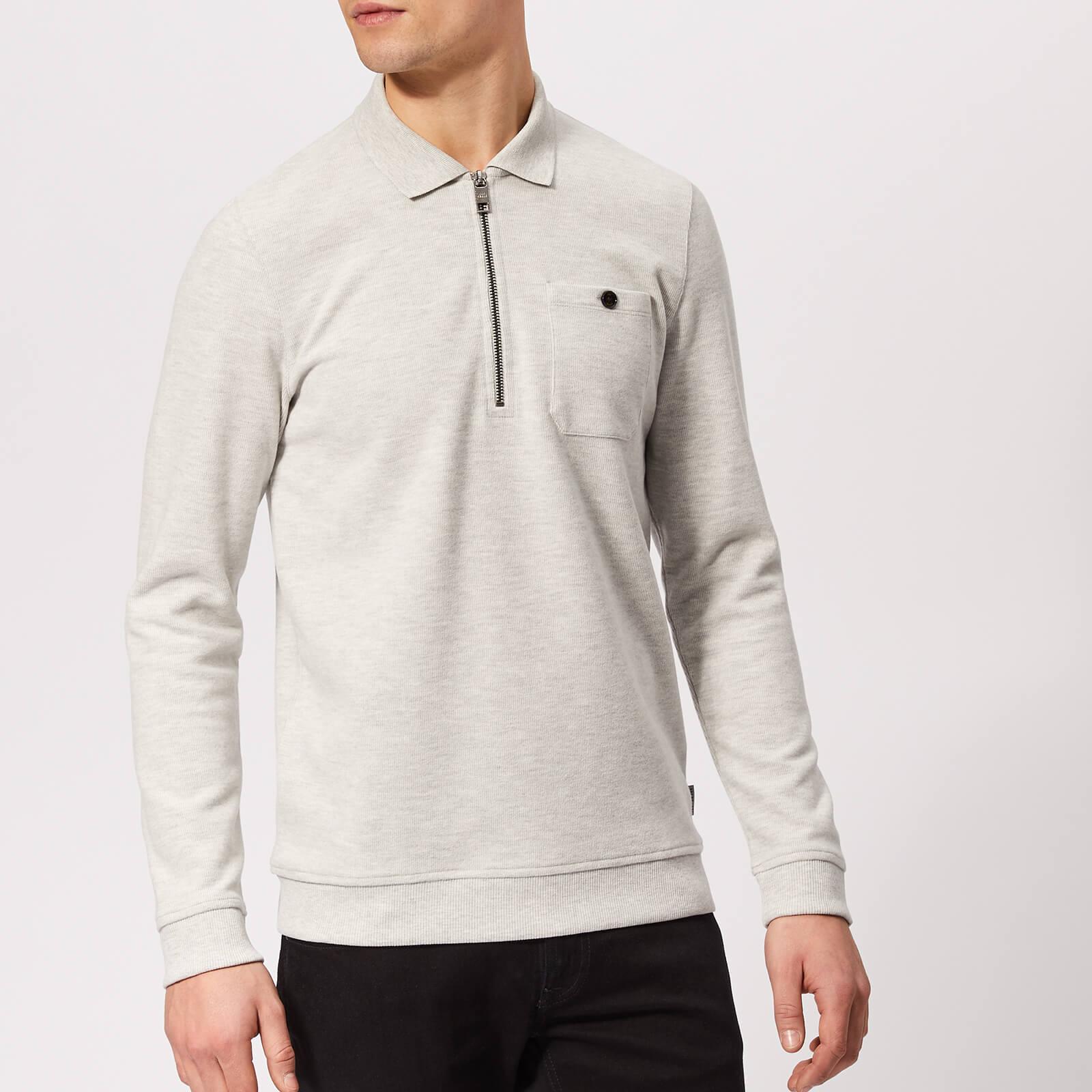 Ted Baker Men's Distres Quarter Zip Sweatshirt - Natural - 2/S - Grey