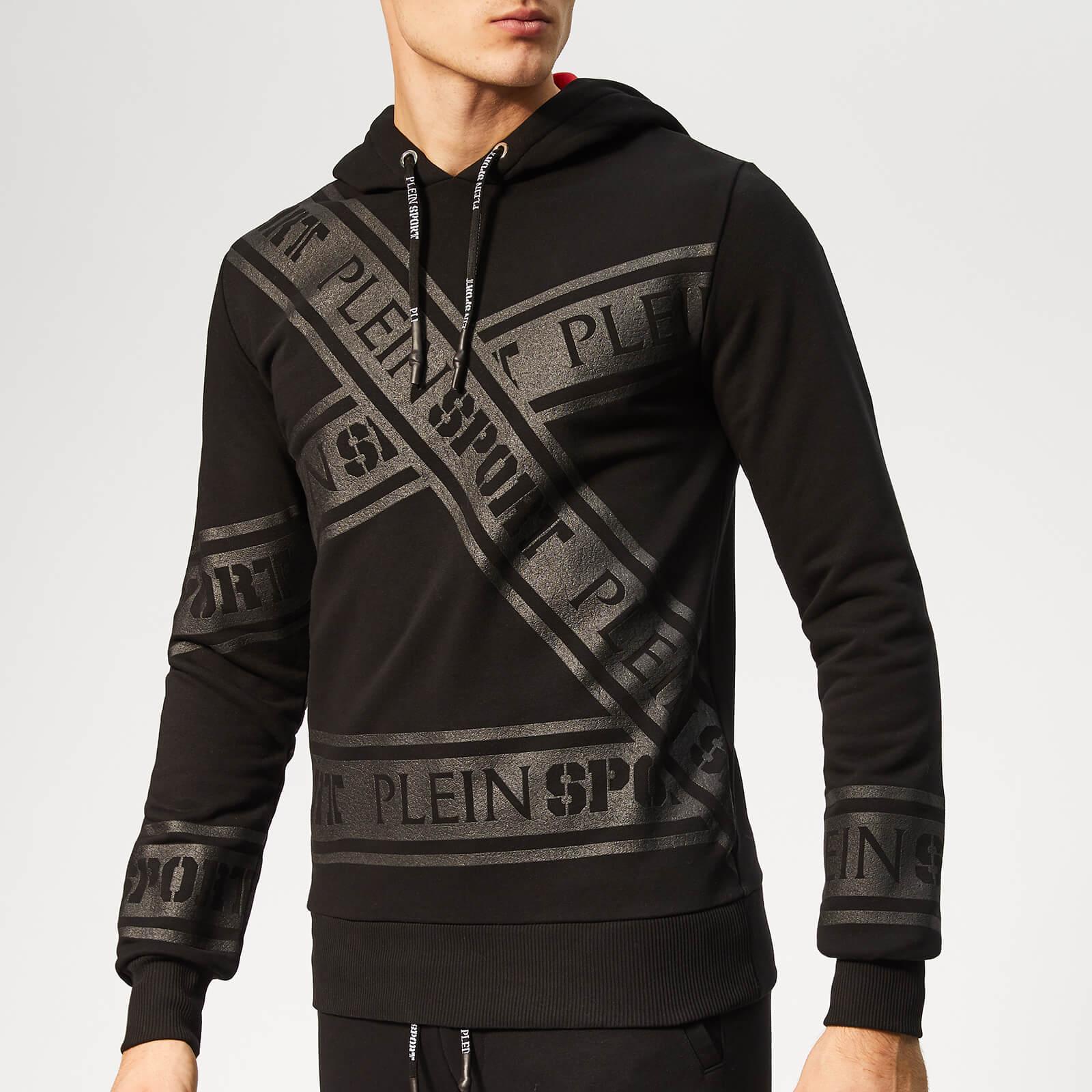 Plein Sport Men's Tape Stripes Hooded Sweatshirt - Black - S - Black